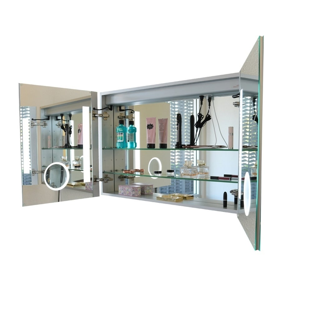 Innoci-USA Zeus LED Surface Mount Double Door Lighted Medicine Cabinet for  Vanity Featuring Dual Color and Smart Touch Control