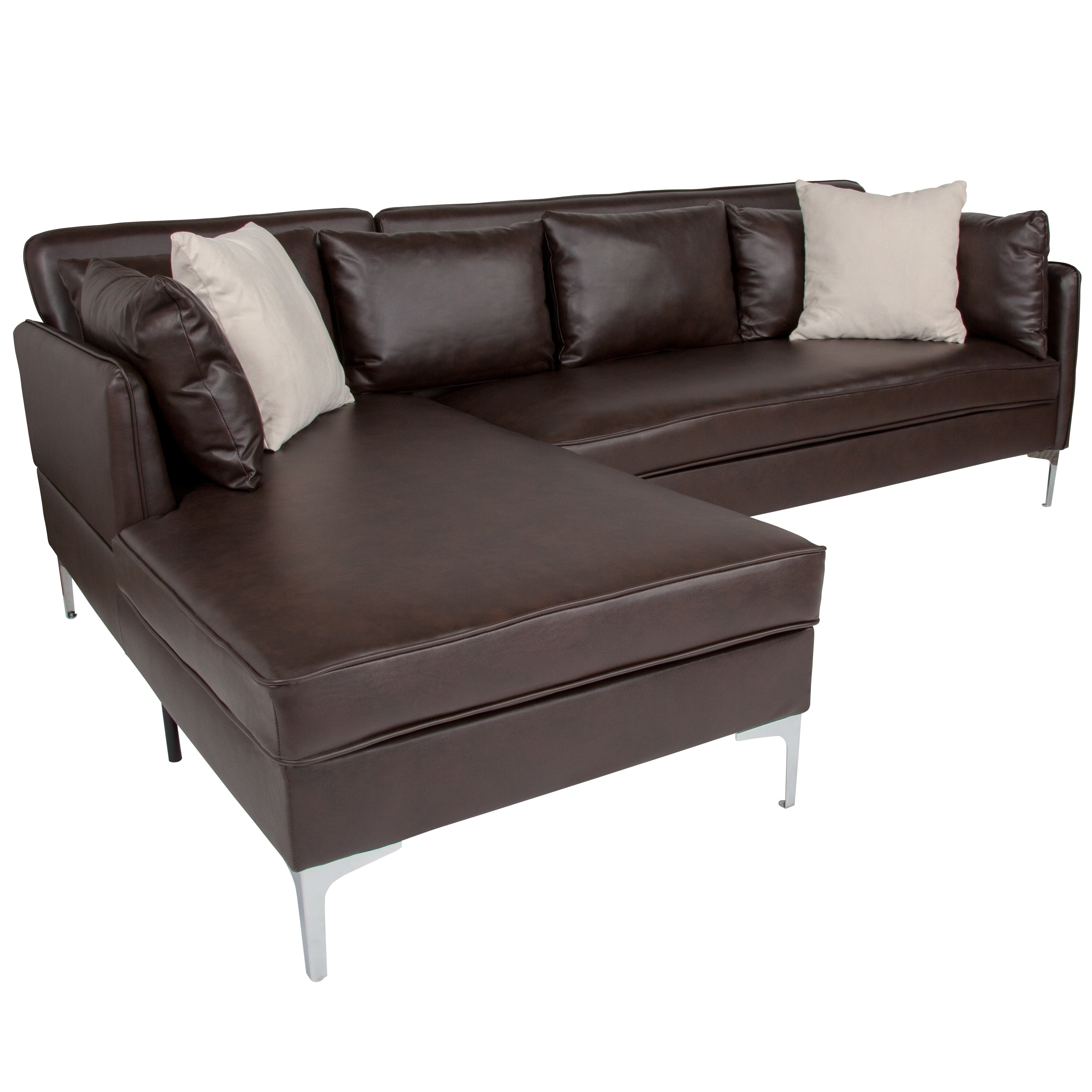 Lancaster Home Black Faux Leather L Shaped Sectional Chaise