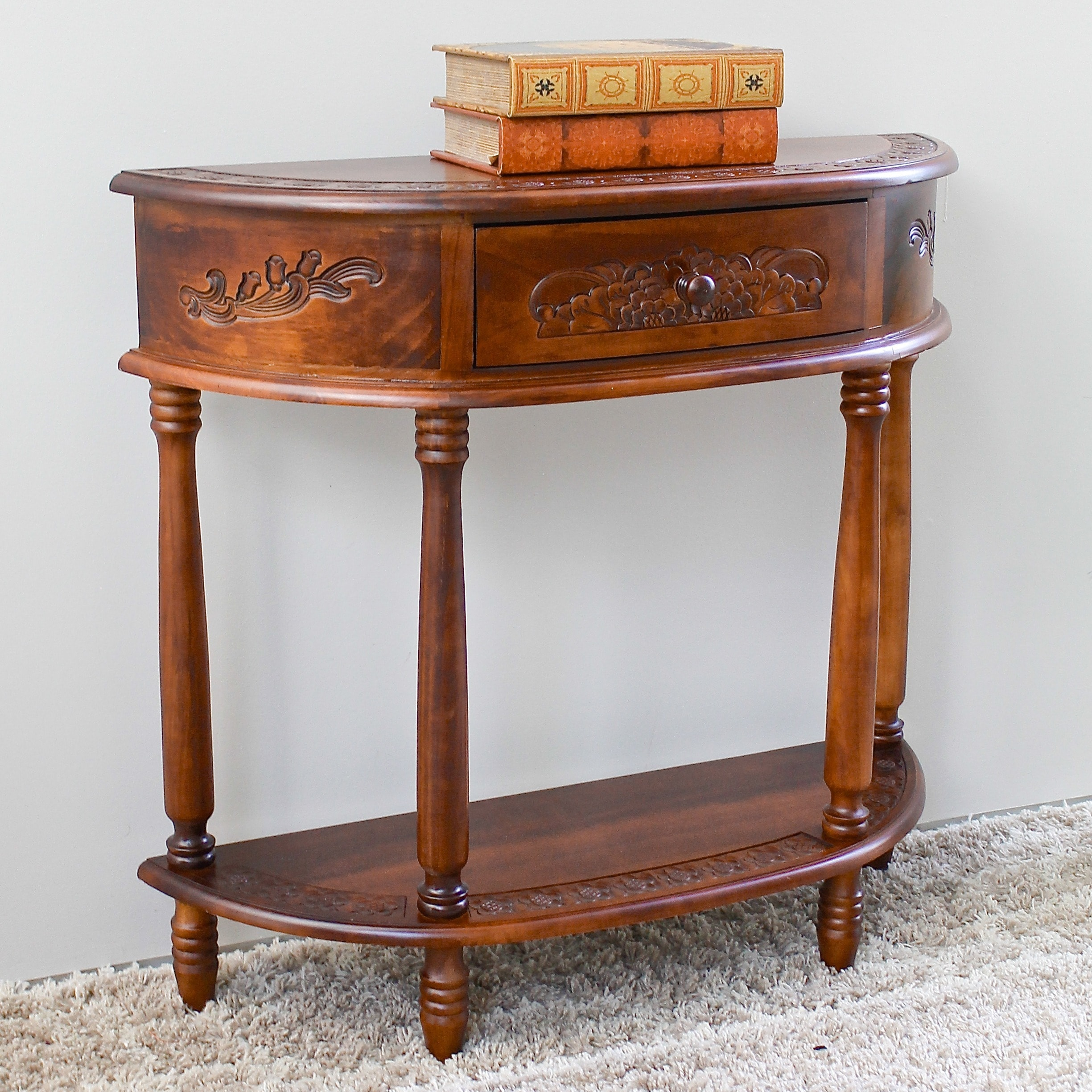 International Caravan Carved Wood Half Moon Hall Table On Free Shipping Today 2668385