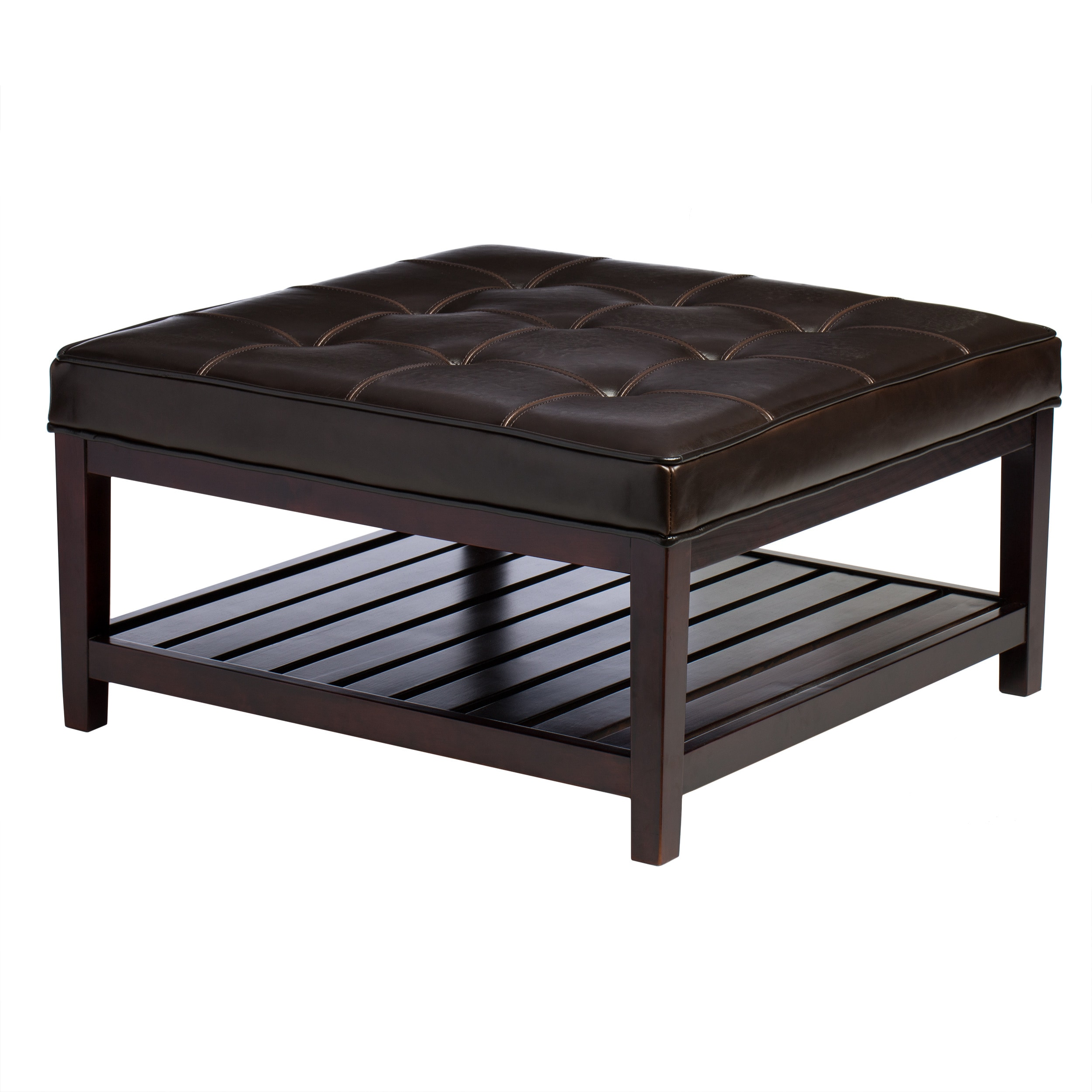 Pine Canopy Hudson Dark Brown Leather Ottoman Free Shipping Today 20253748