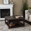 Pine Canopy Uncompahgre Dark Brown Leather Ottoman
