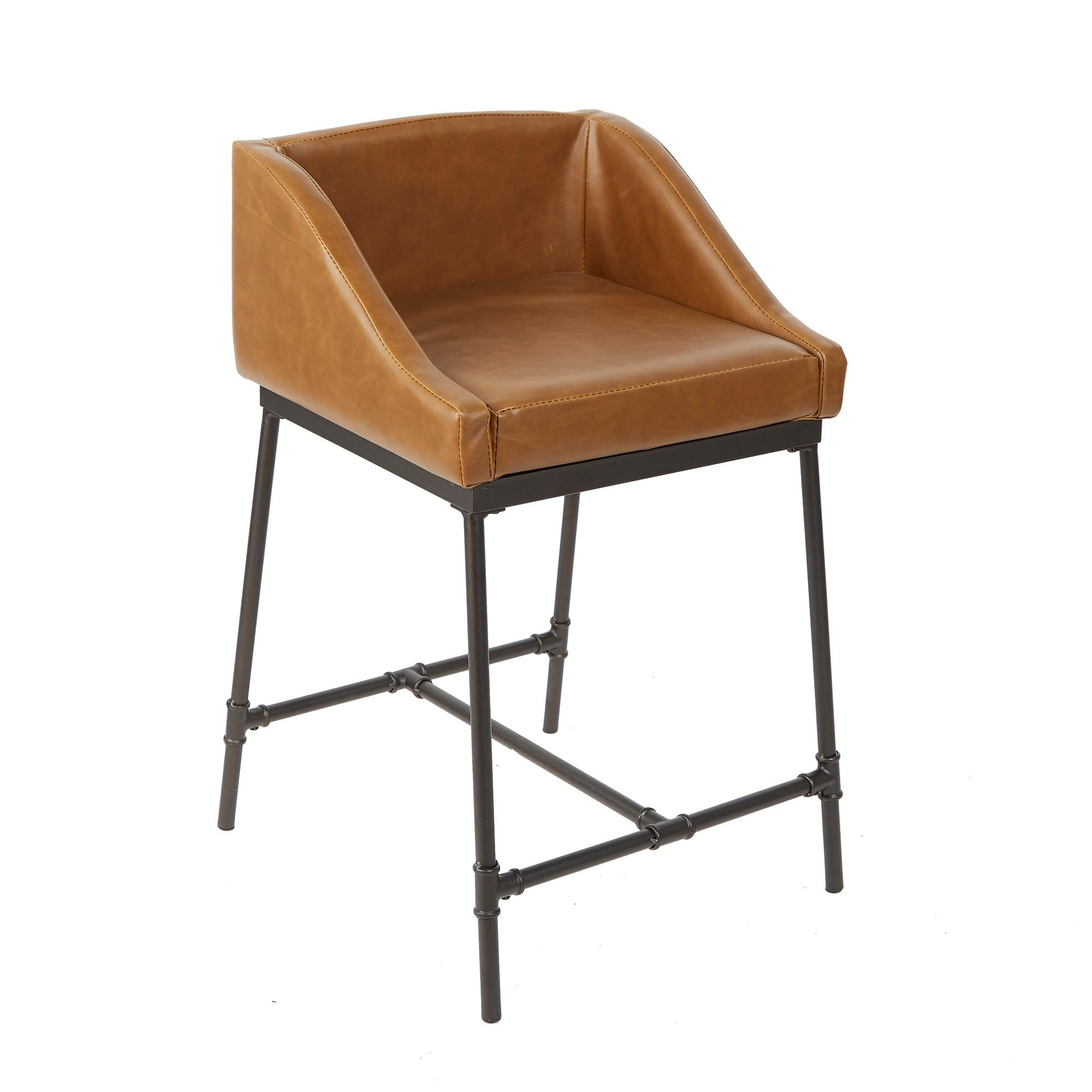 Shop 24 Renzo Industrial Pipe Square Stool With Back Free