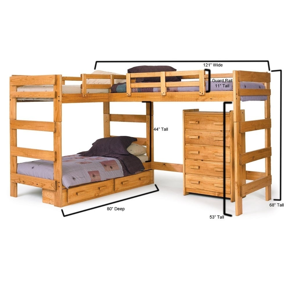 Shop Honey L Shaped Loft Bed With Underbed Storage Free Shipping