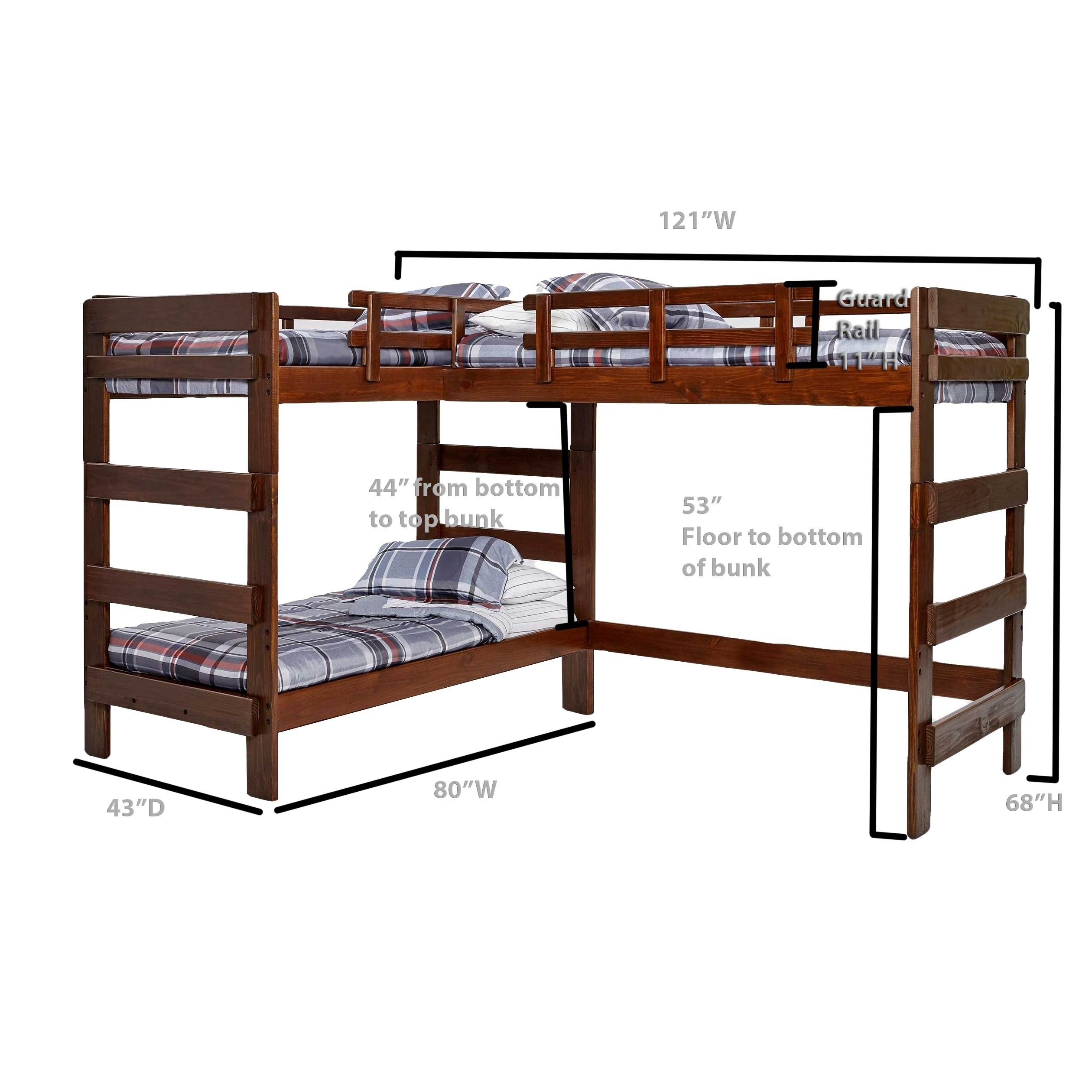 Shop Chocolate L Shaped Loft Bed Free Shipping Today Overstock