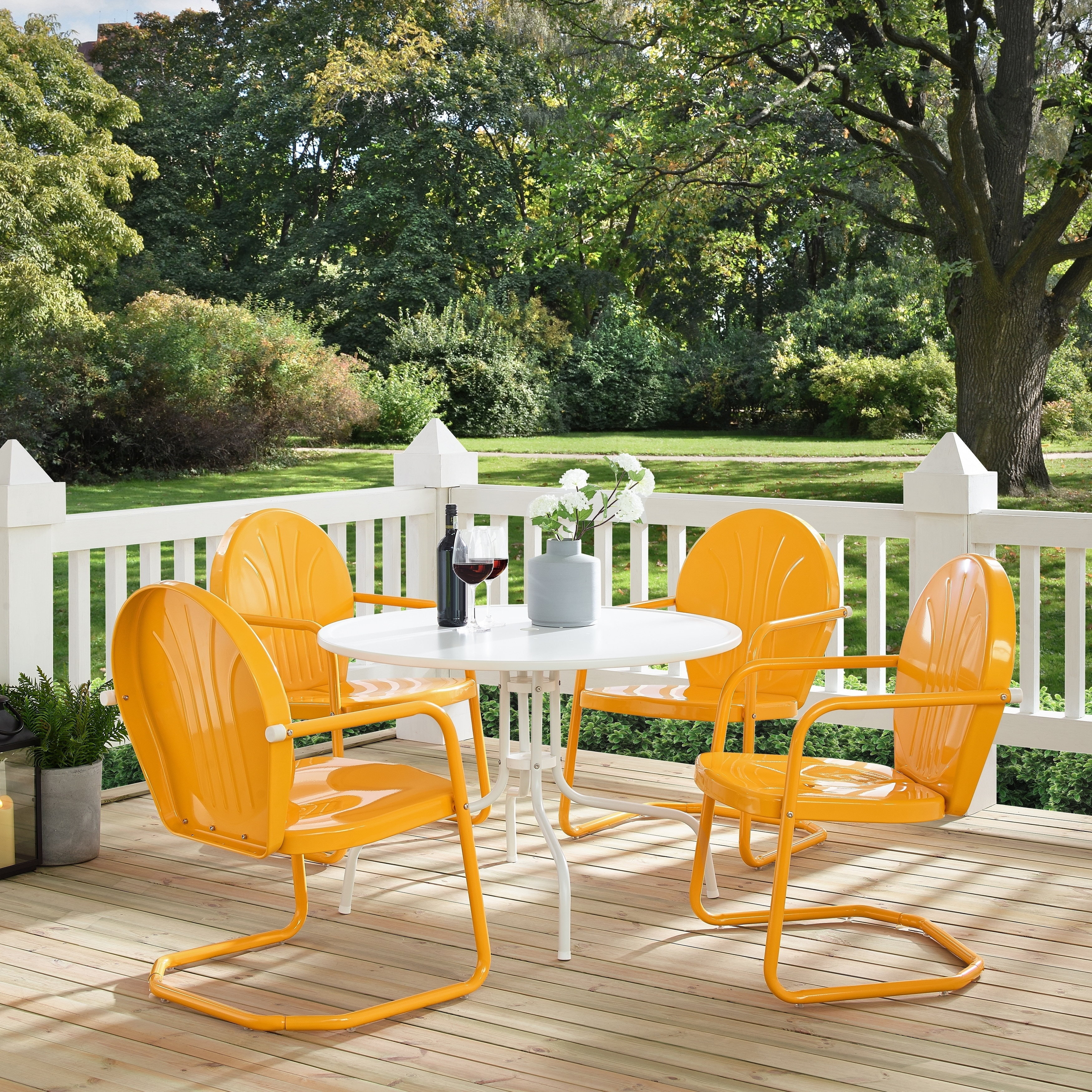 Shop griffith metal five piece outdoor dining set 39 dining table in white finish with tangerine finish chairs free shipping today overstock