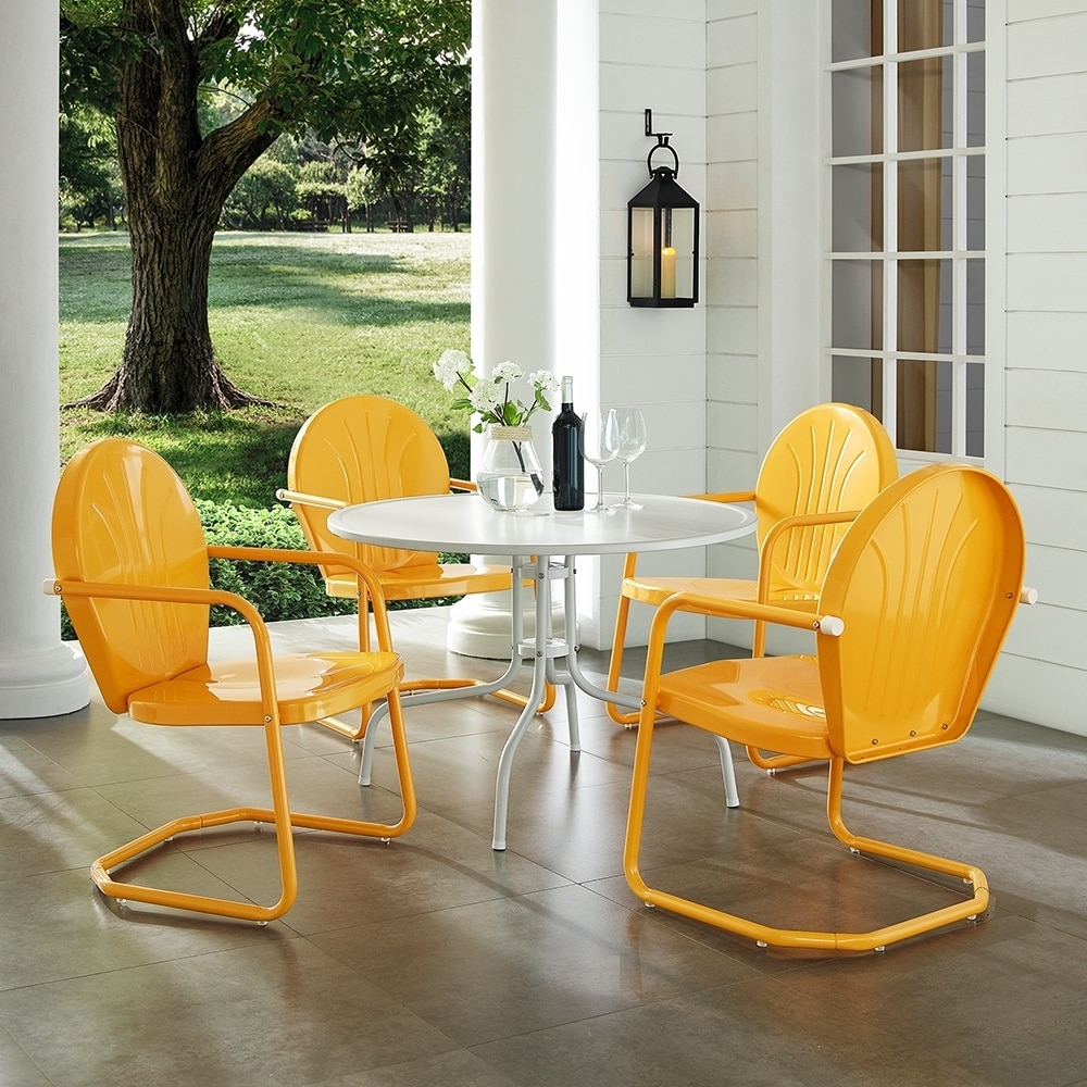 Griffith metal five piece outdoor dining set 39 dining table in white finish with tangerine finish chairs by crosley furniture