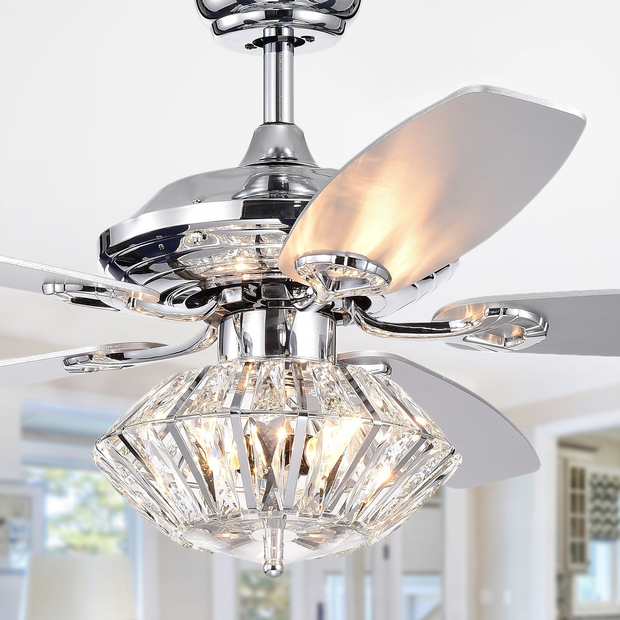 Makore chrome 52 inch lighted ceiling fan with crystal shade incl remote 2 color option blades