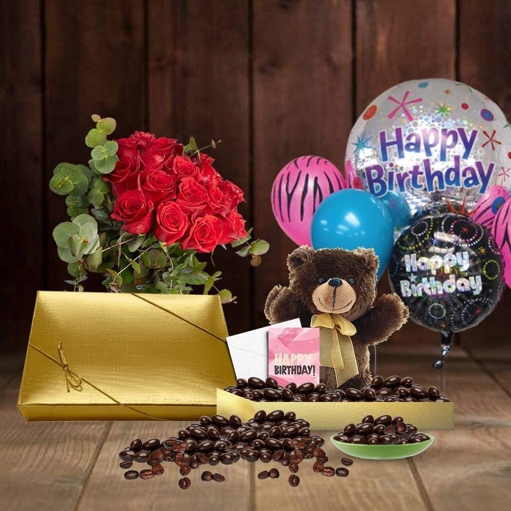 Shop 70th Birthday Gift Basket Plush Teddy Bear Premium California Vegan Chocolate Coated Coffee BeansHandwritten Card