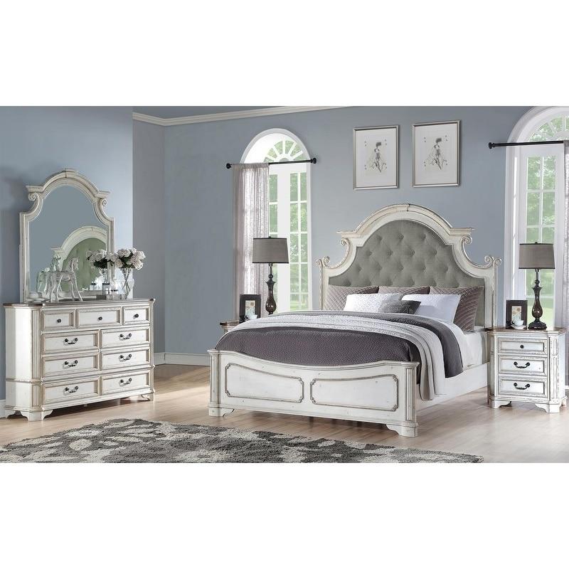 Best Master Furniture 5 Pieces Antique White Panel Bedroom Set