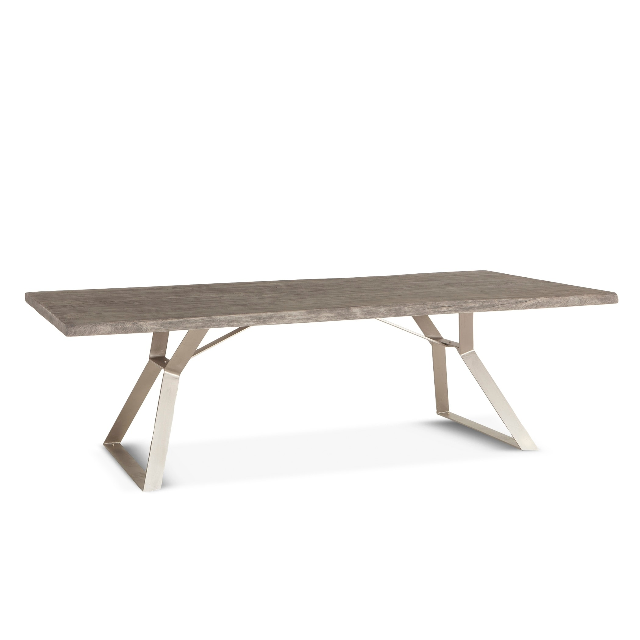 Shop nottingham 106 inch weathered gray acacia wood dining table grey free shipping today overstock com 26971069