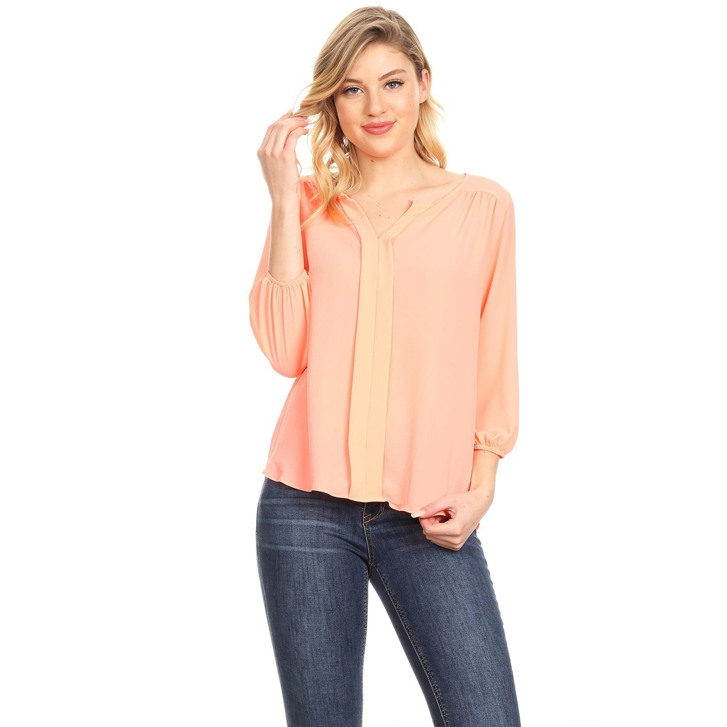 e97108501a8 Shop Women s Solid Casual Lightweight Three Quarter Bishop Sleeve Split  Neck Tunic Top Tee Blouse - Free Shipping On Orders Over  45 -  Overstock.com - ...