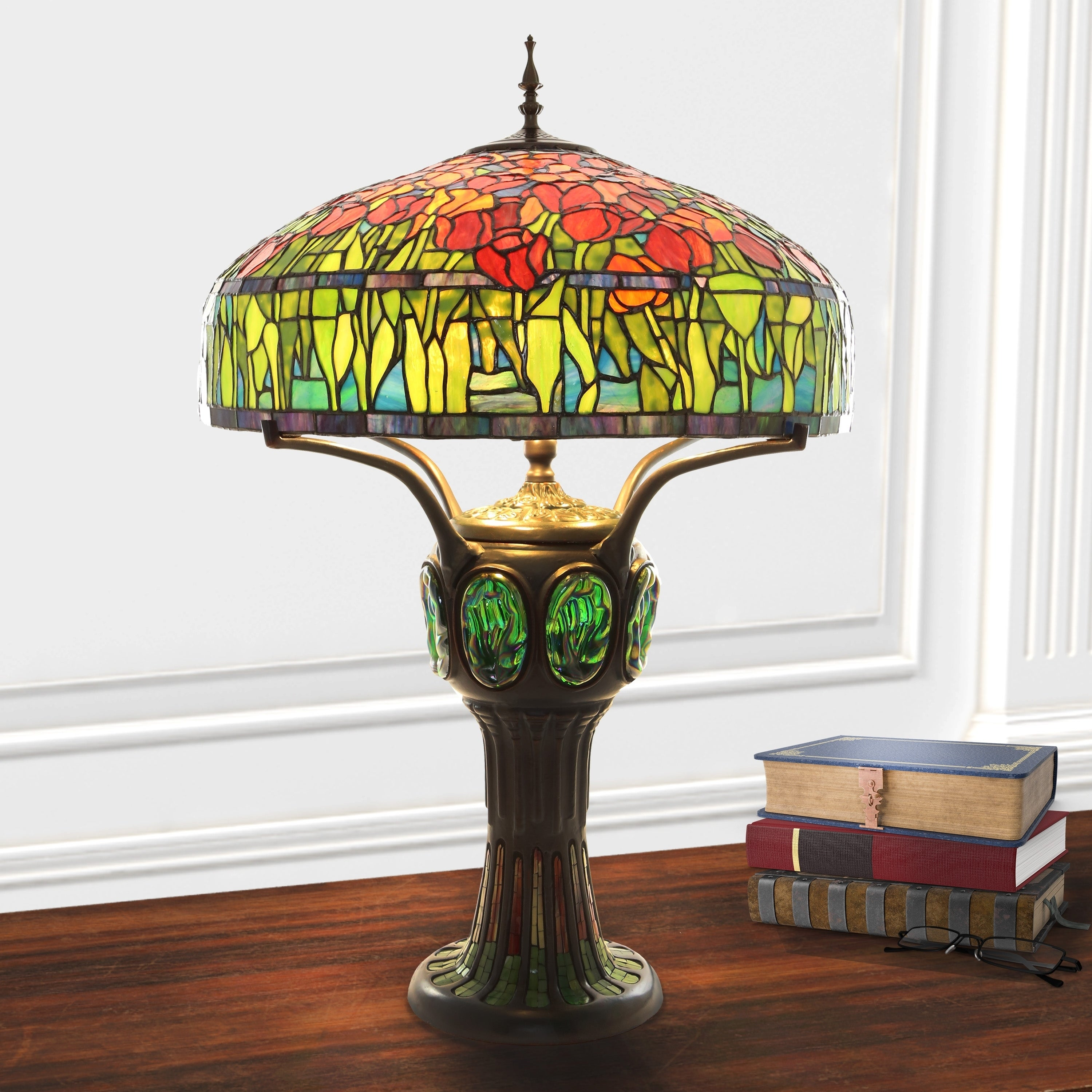 Shop River of Goods Green Glass Iron Tiffany style Tulip stained 34
