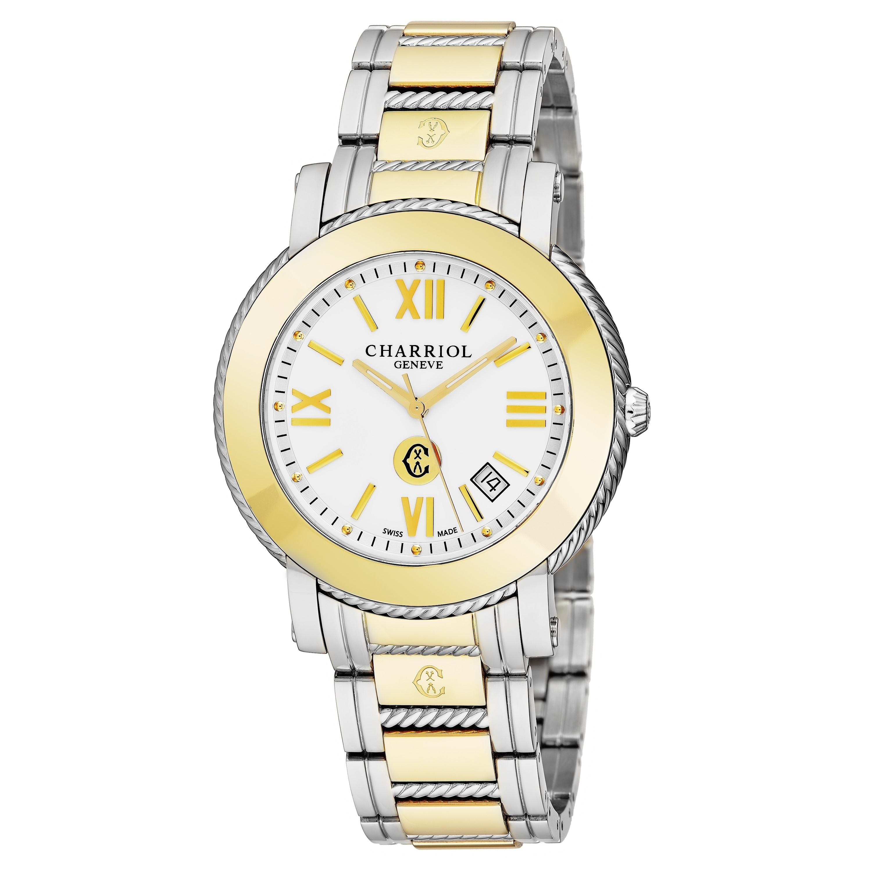 8f8d3d2bf91 Charriol Men s P42SY1.P42SY1.007  Parisi  White Dial Two Tone Stainless  Steel Quartz Watch