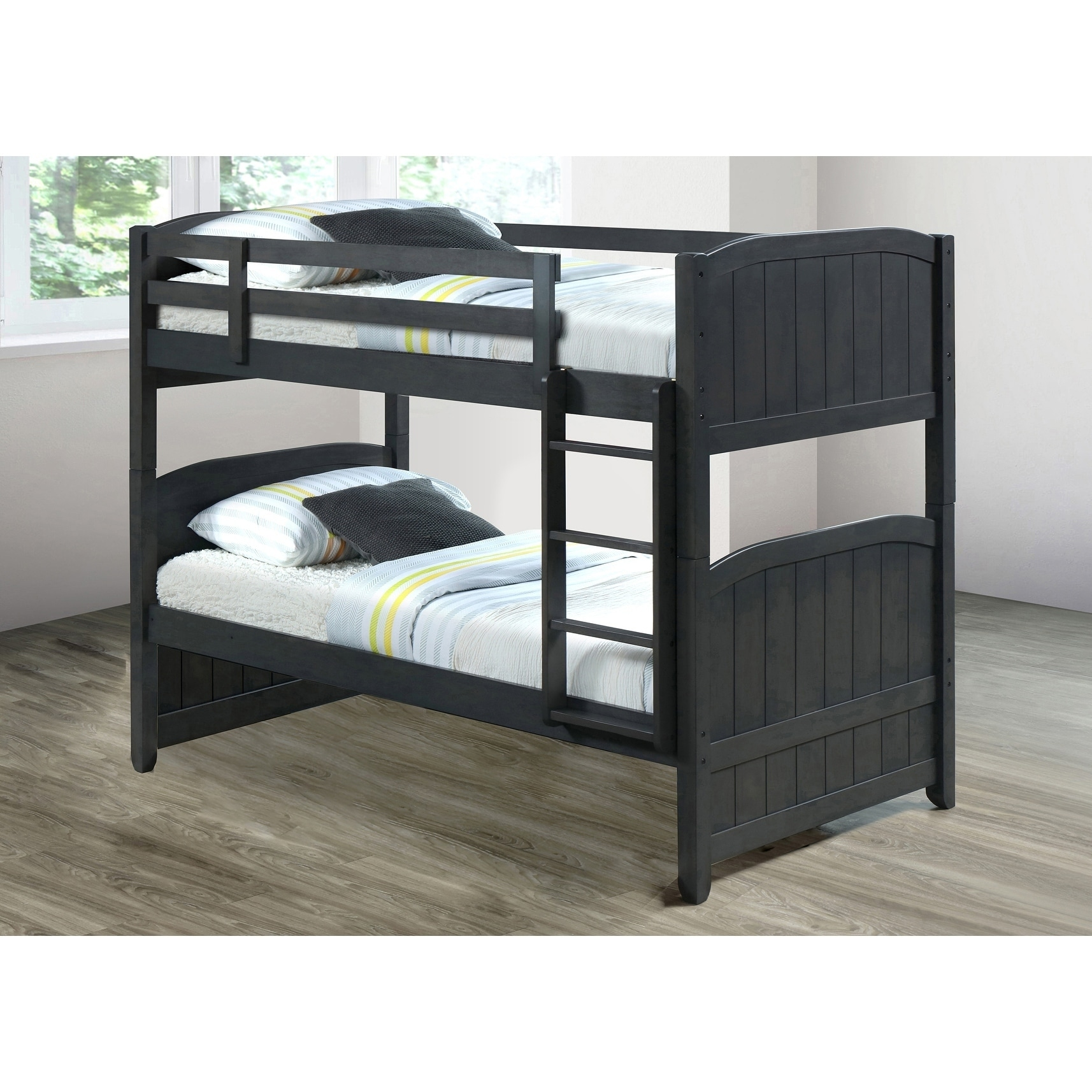 Shop Best Quality Furniture Contemporary Grey Bunk Bed   Free