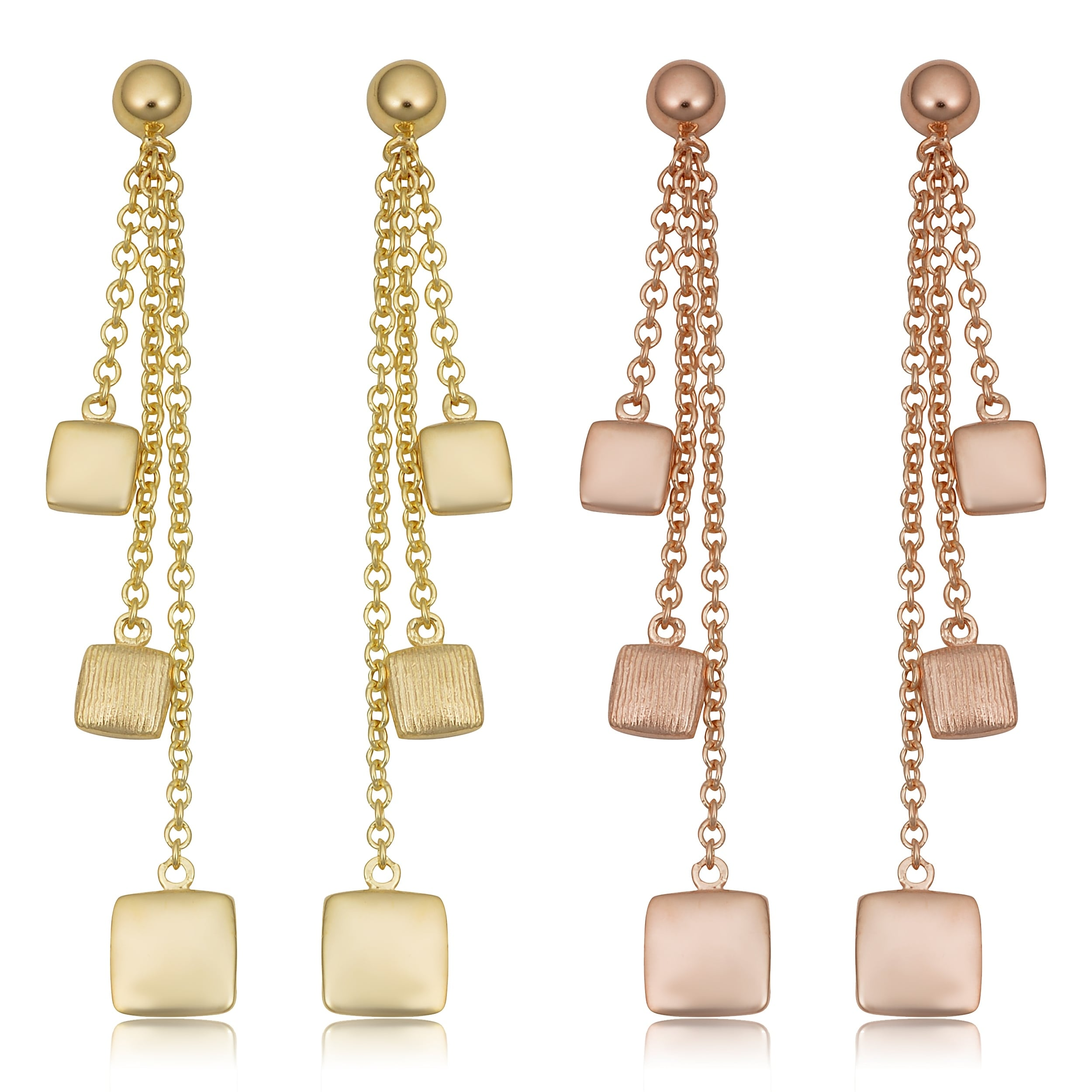 daa5f436e Shop 14k Yellow or Rose Gold Polished Textured Square Drop earrings ...