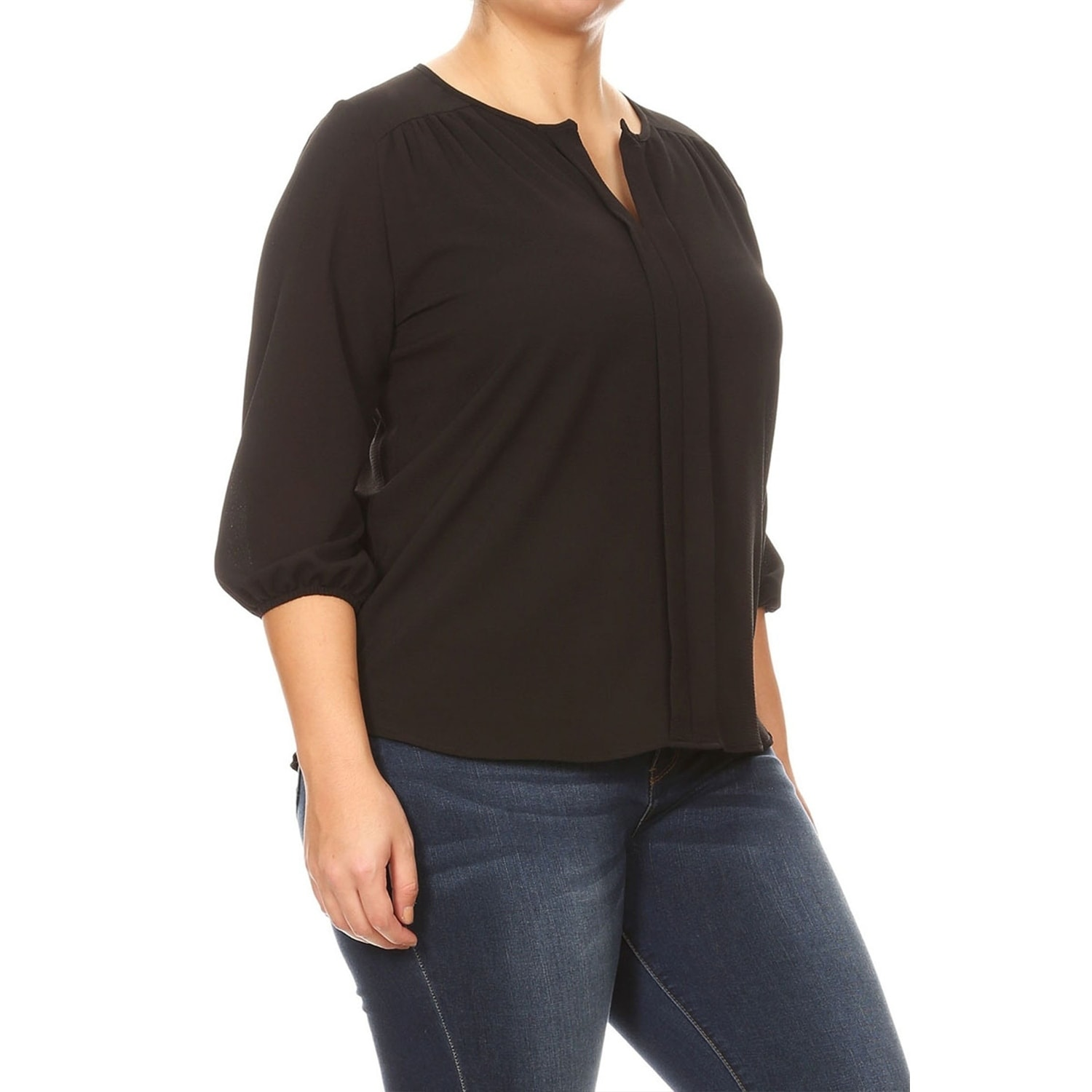 8c48f43e276 Shop Women s Plus Size Solid Casual Lightweight 3 4 Bishop Sleeve Split  Neck Tunic Top Blouse - Free Shipping On Orders Over  45 - Overstock.com -  27095505
