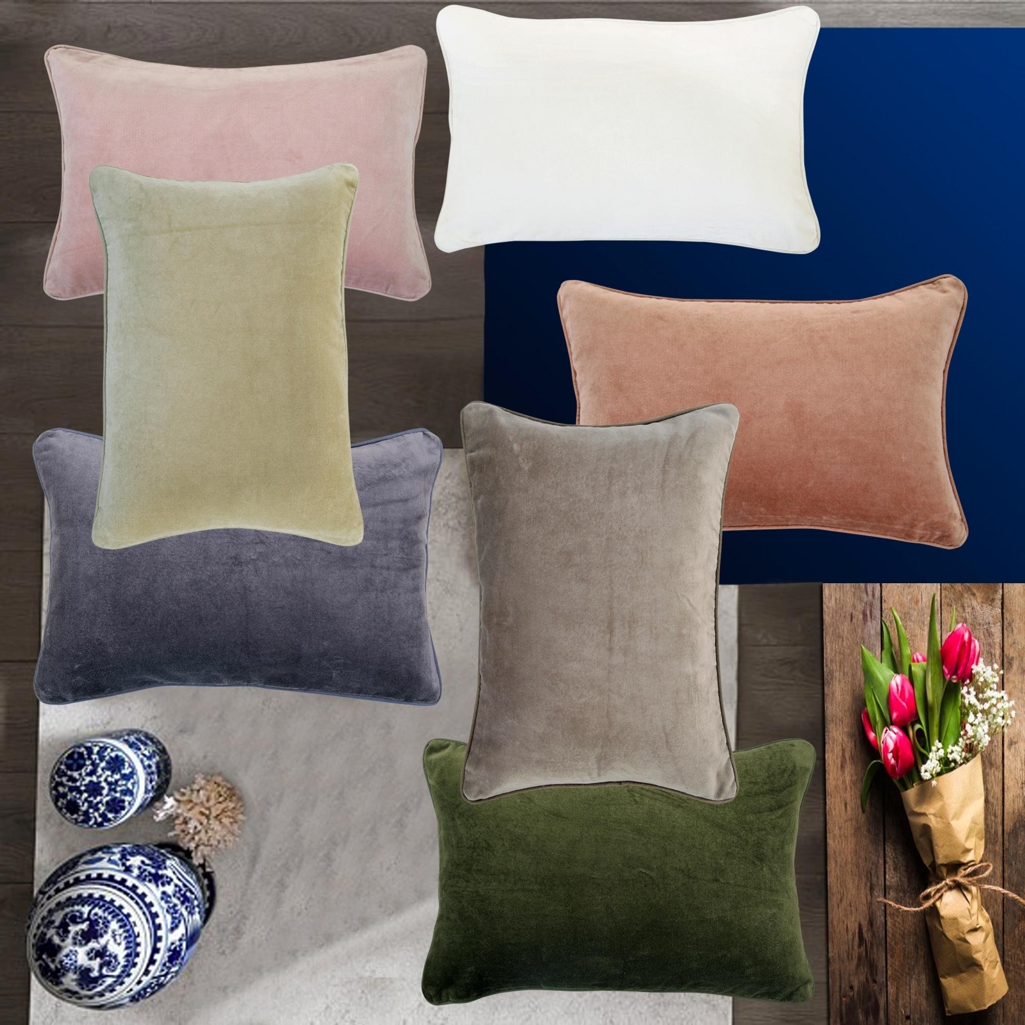 Krus Cotton Velvet 12x18 Lumbar Decorative Throw Pillow Cover Set Of 2
