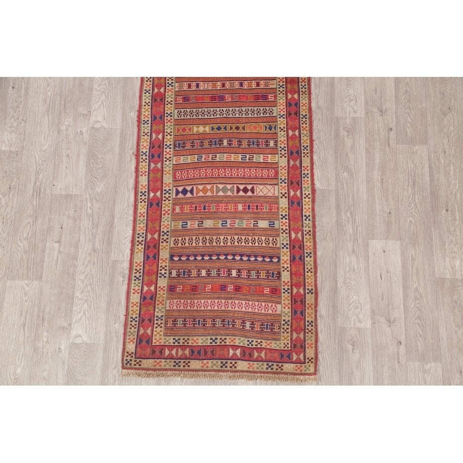 """Shop Kilim Geometric Hand Woven Wool Persian Rug - 9'4"""" x 2'8"""" Runner - On Sale - Free Shipping Today - Overstock - 27122979"""