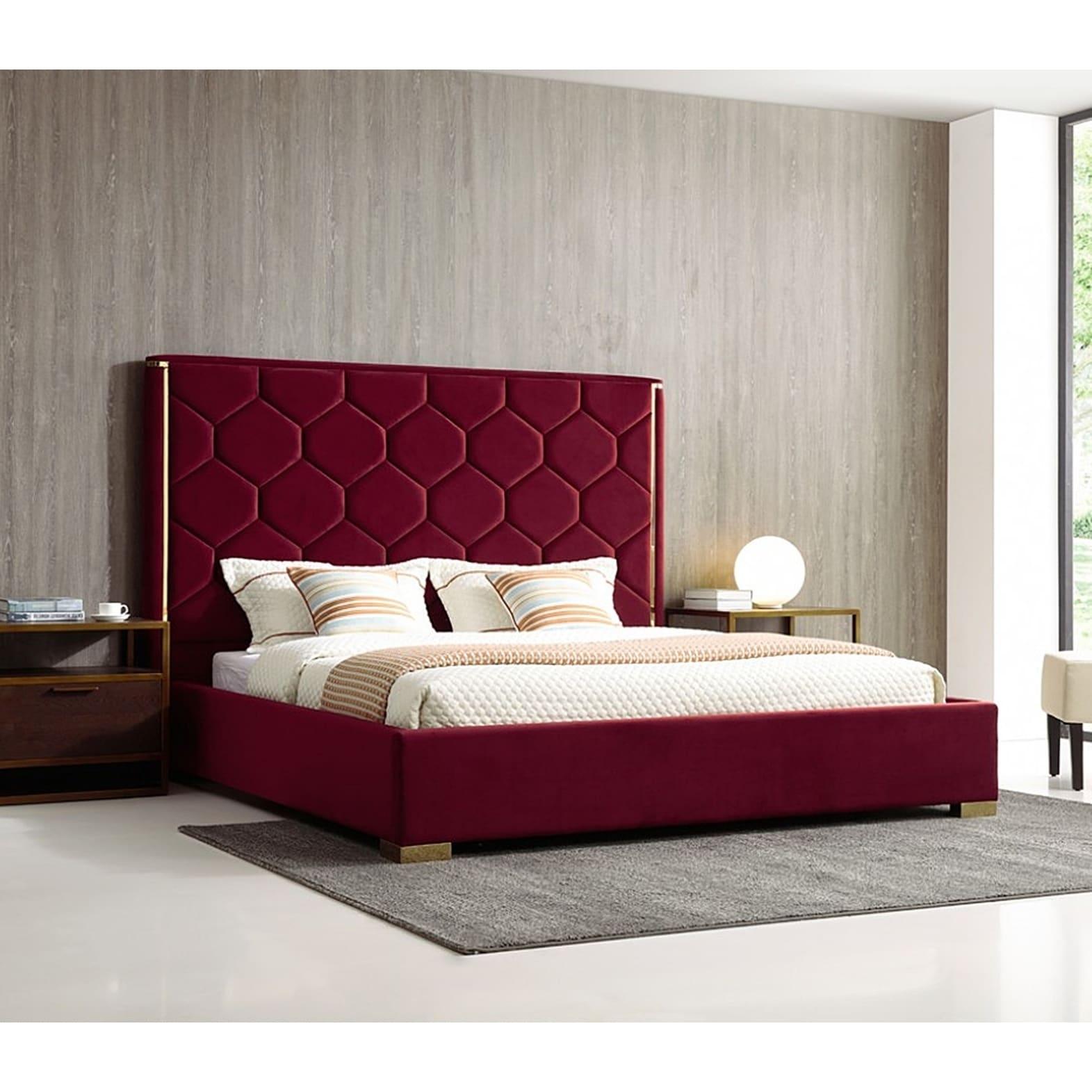 Blauvelt Queen Size Red Velvet Upholstered Platform Bed With Gold Accents On Sale Overstock 27129638