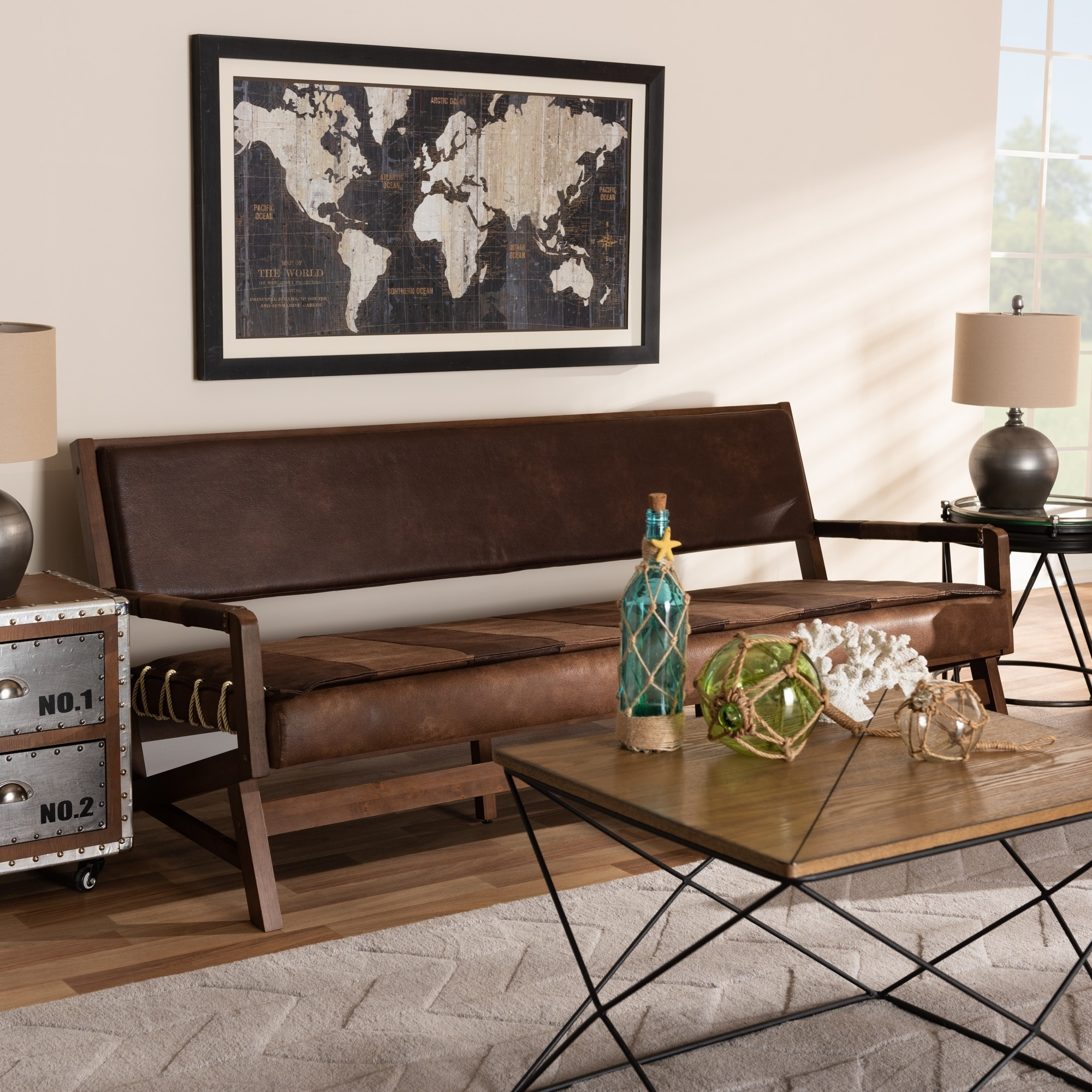 Baxton Studio Rustic Brown Faux Leather Sofa