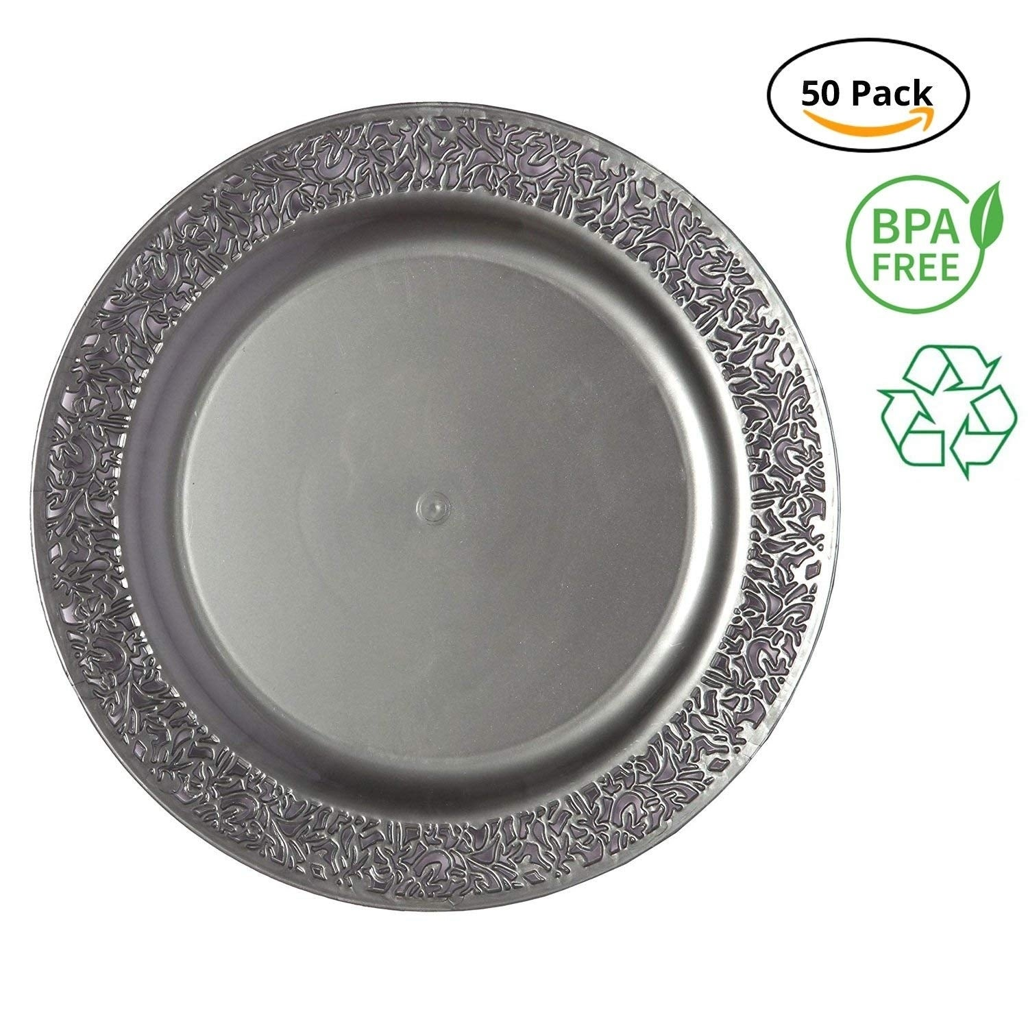 Shop party joy 50 piece plastic dinner plate set lace collection heavy duty premium plastic plates grey free shipping today overstock 27166234