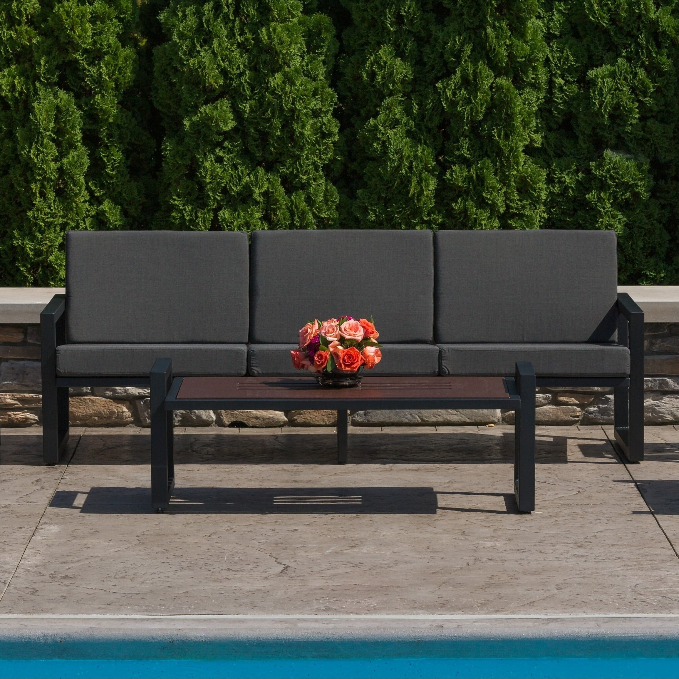Shop Elan Furniture Vero Outdoor Sofa Coal Sunbrella Cushions