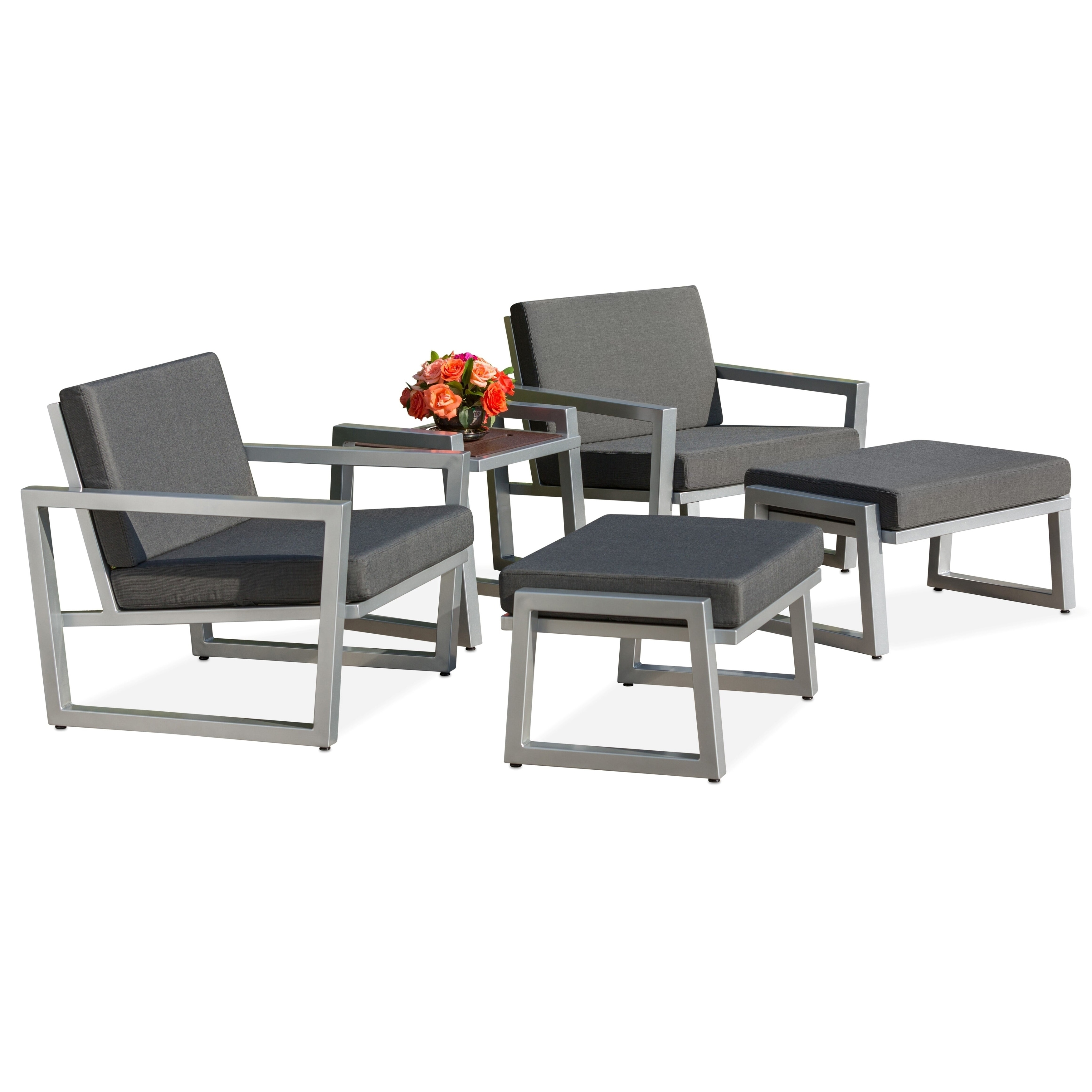 Elan Furniture Vero Outdoor 5 Piece Lounge Set Coal Sunbrella Cushions Overstock 27175645