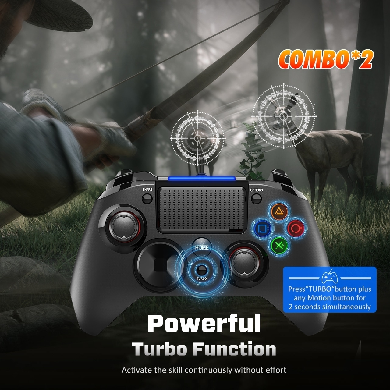 Play Station 4 Wired Gaming Controller Joysticks with Dual-Vibration Turbo  and Trigger Buttons for PS4/PS3/PC