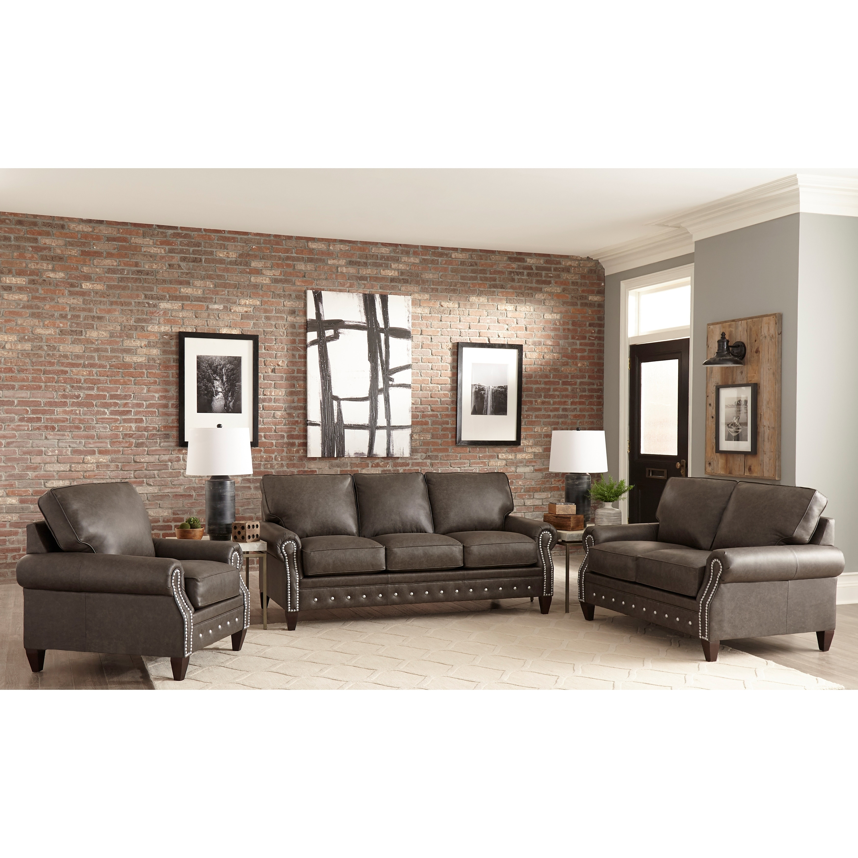 Made in usa payne top grain leather sofa loveseat and chair