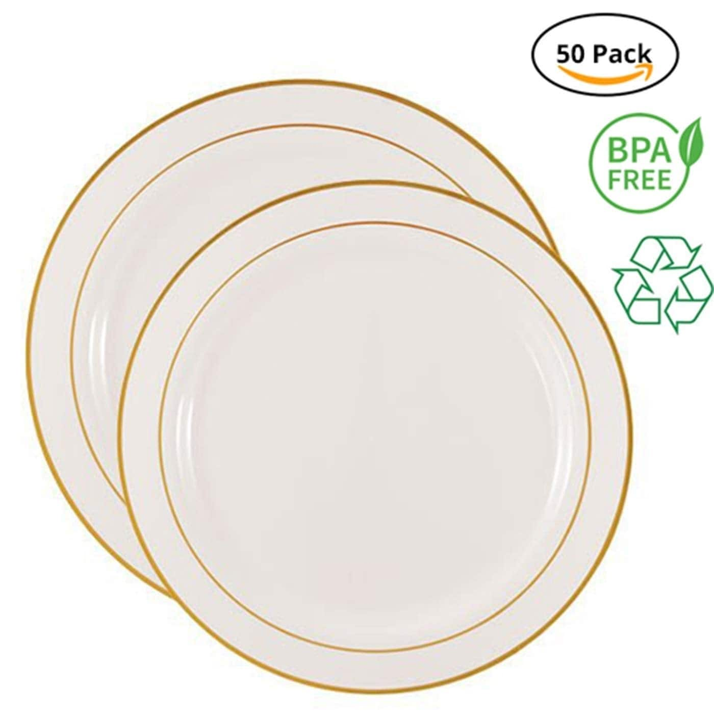 Shop party joy 50 piece plastic dinnerware set free shipping on orders over 45 overstock 27281438
