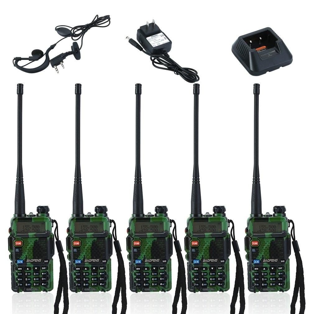 Universal Walkie Talkie BAOFENG UV-5R Handheld Radio Interphone 5 PCS -  Green