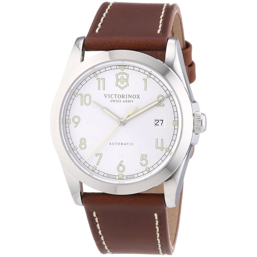 846b9863826 Shop Victorinox Swiss Army Men s 241566  Infantry  Silver Dial Brown  Leather Strap GMT Swiss Automatic Watch - On Sale - Free Shipping Today -  Overstock - ...