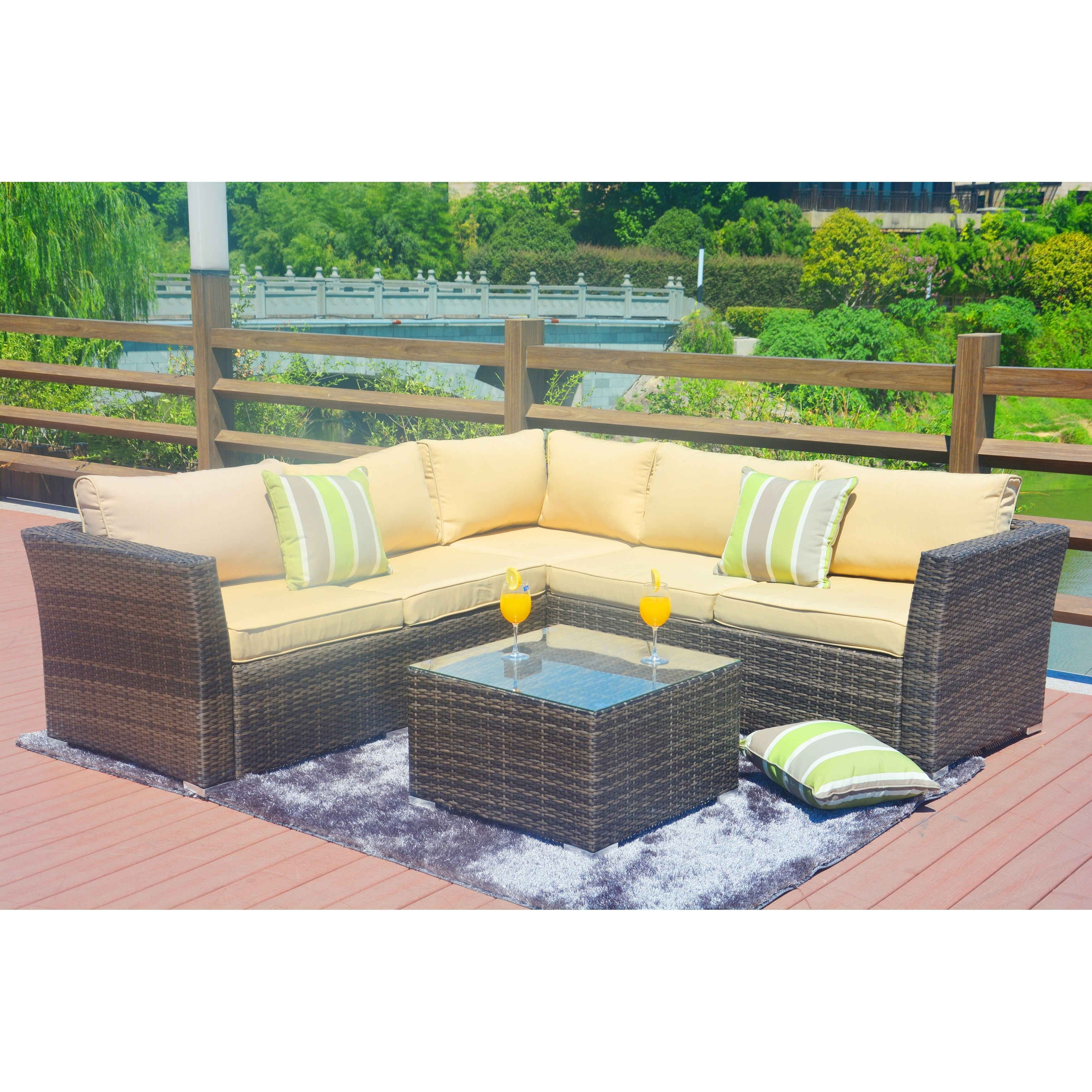 Shop 4 Piece Outdoor Sectional Sofa Set With Cushions Patio