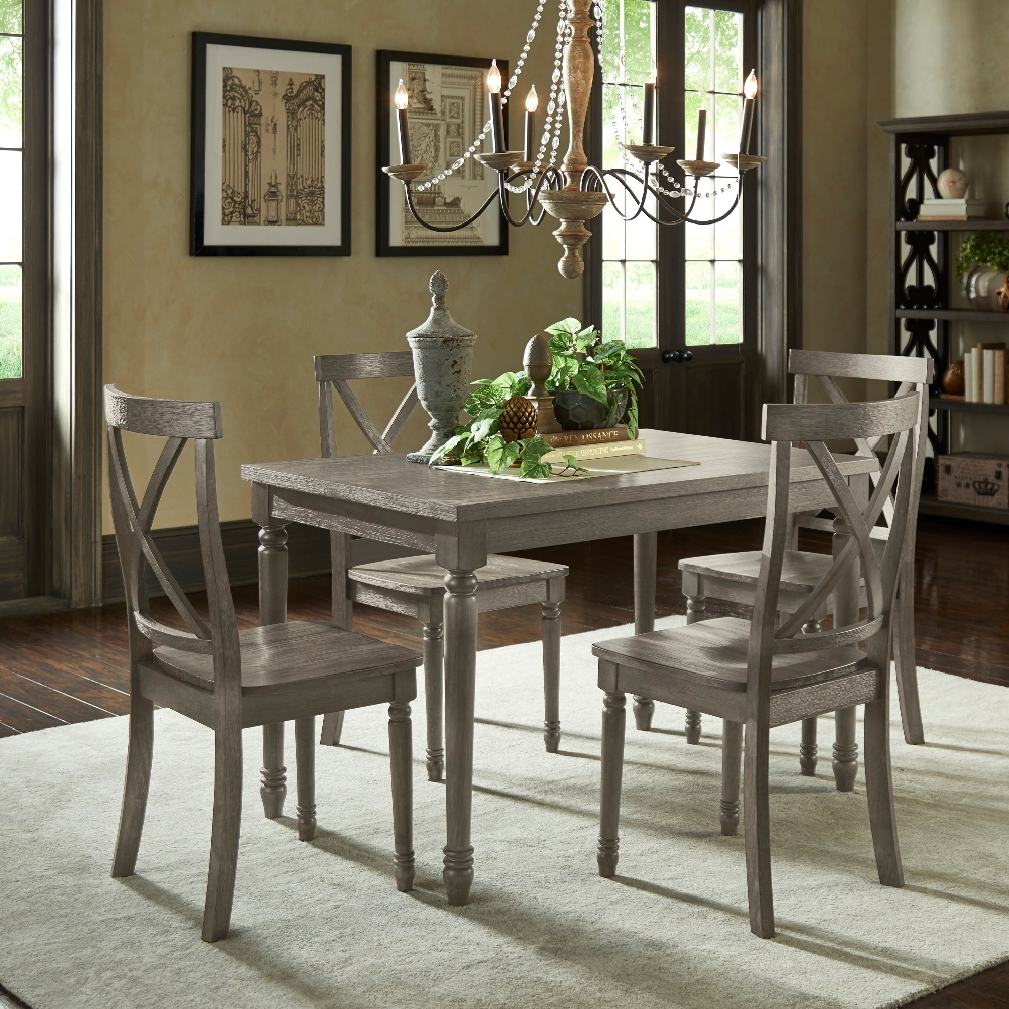 Dahlia Reclaimed Wood Grey Finish 5 Piece 48 Inch Dining Table Set By Inspire Q