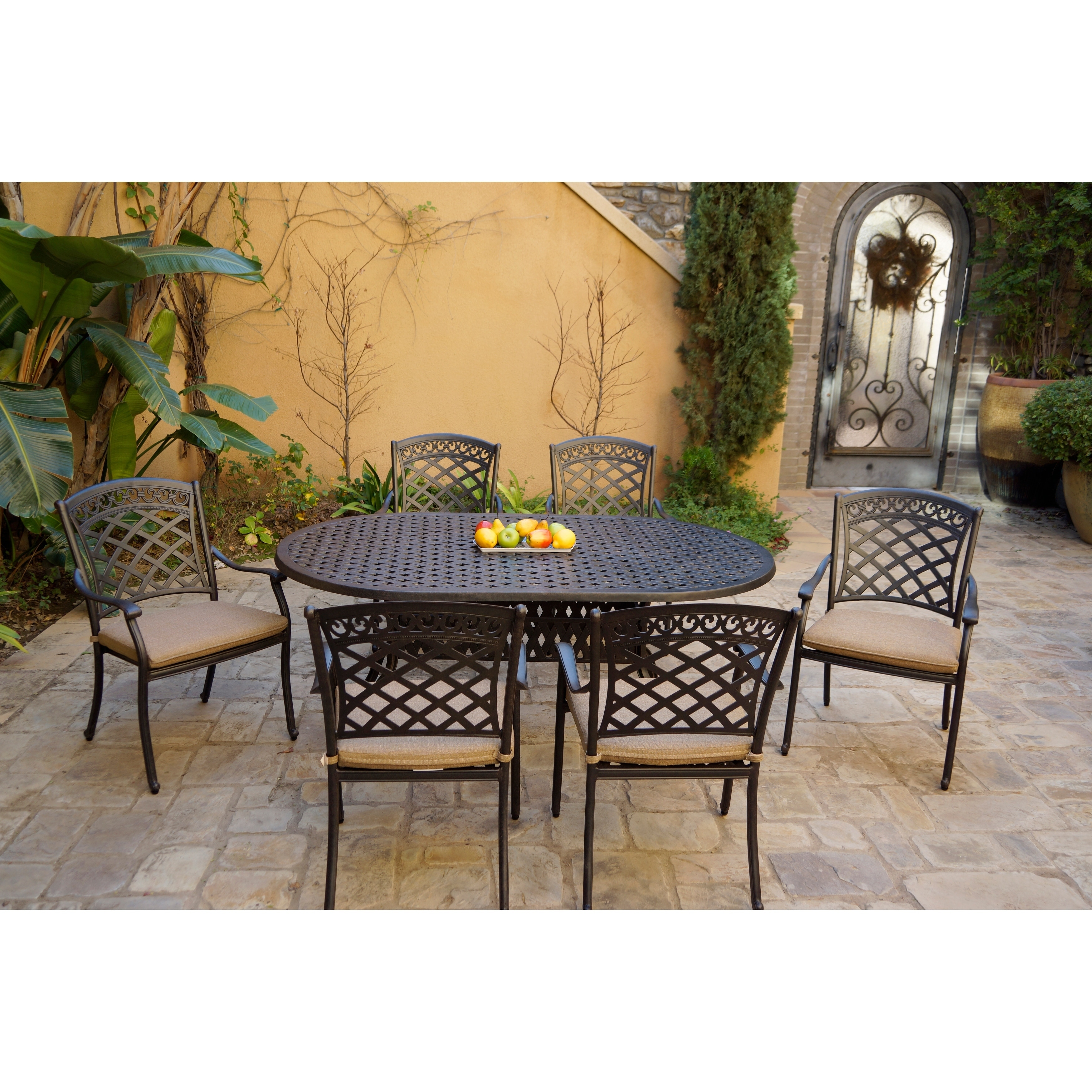 7 Piece Patio Dining Set 42 X 72 Inch Oval Table