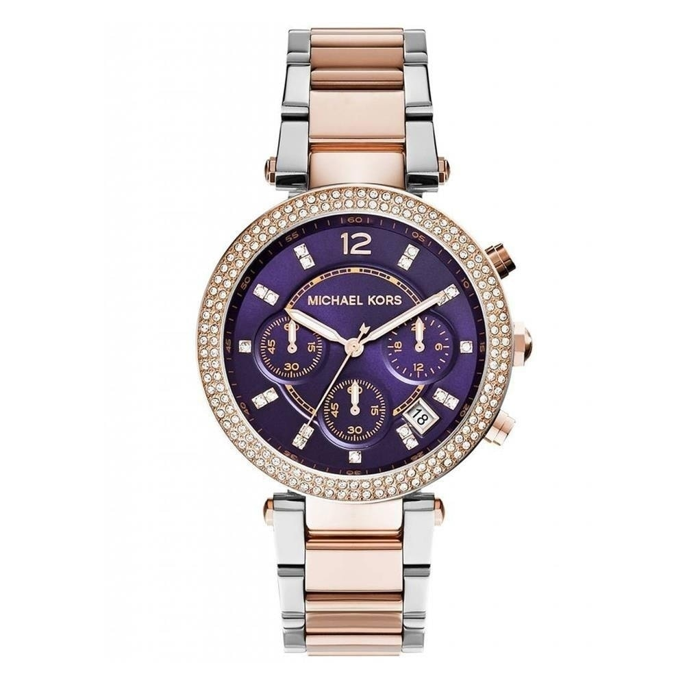d4f7607572c3 Shop Michael Kors Women s MK6108  Parker  Chronograph Two-Tone Stainless  Steel Watch - Free Shipping Today - Overstock - 27375857