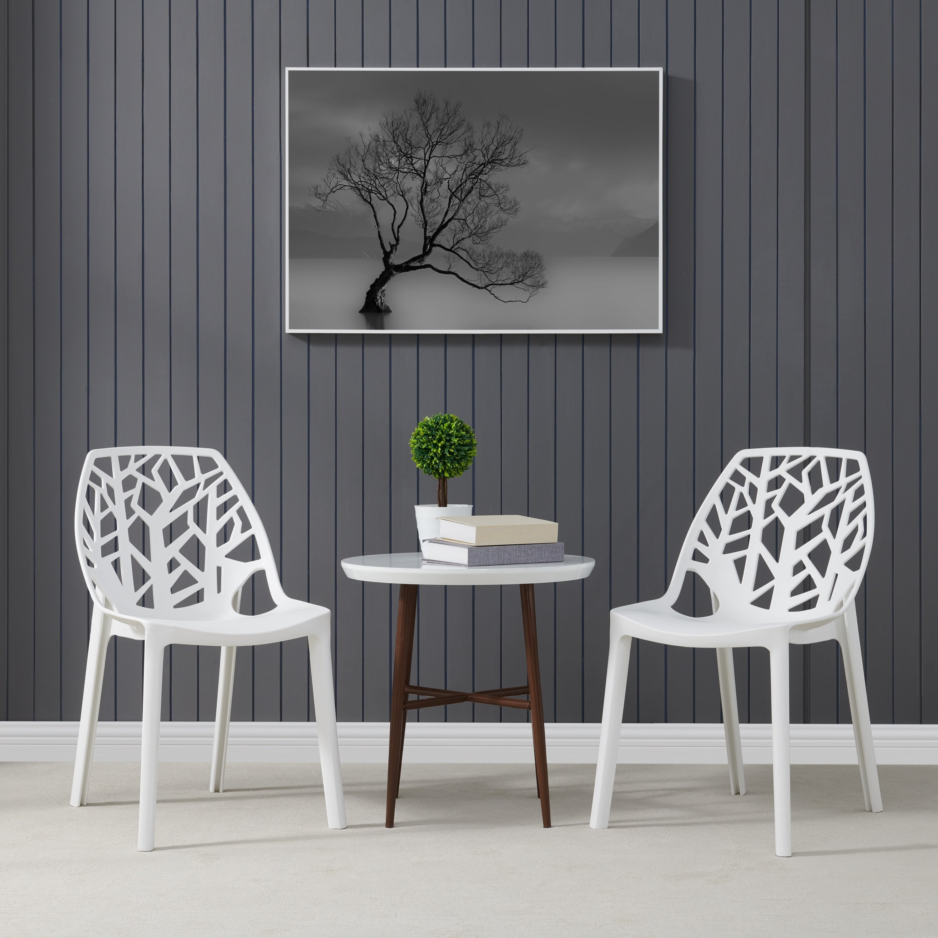 Shop Havenside Home Espenberg Armless Indoor/Outdoor Resin Modern Tree  Dining Chairs (Set Of 2)   On Sale   Free Shipping Today   Overstock    27388882