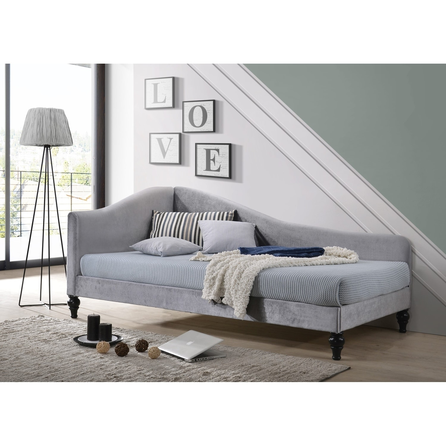 Shop enzo upholstered daybed free shipping today overstock 27405694