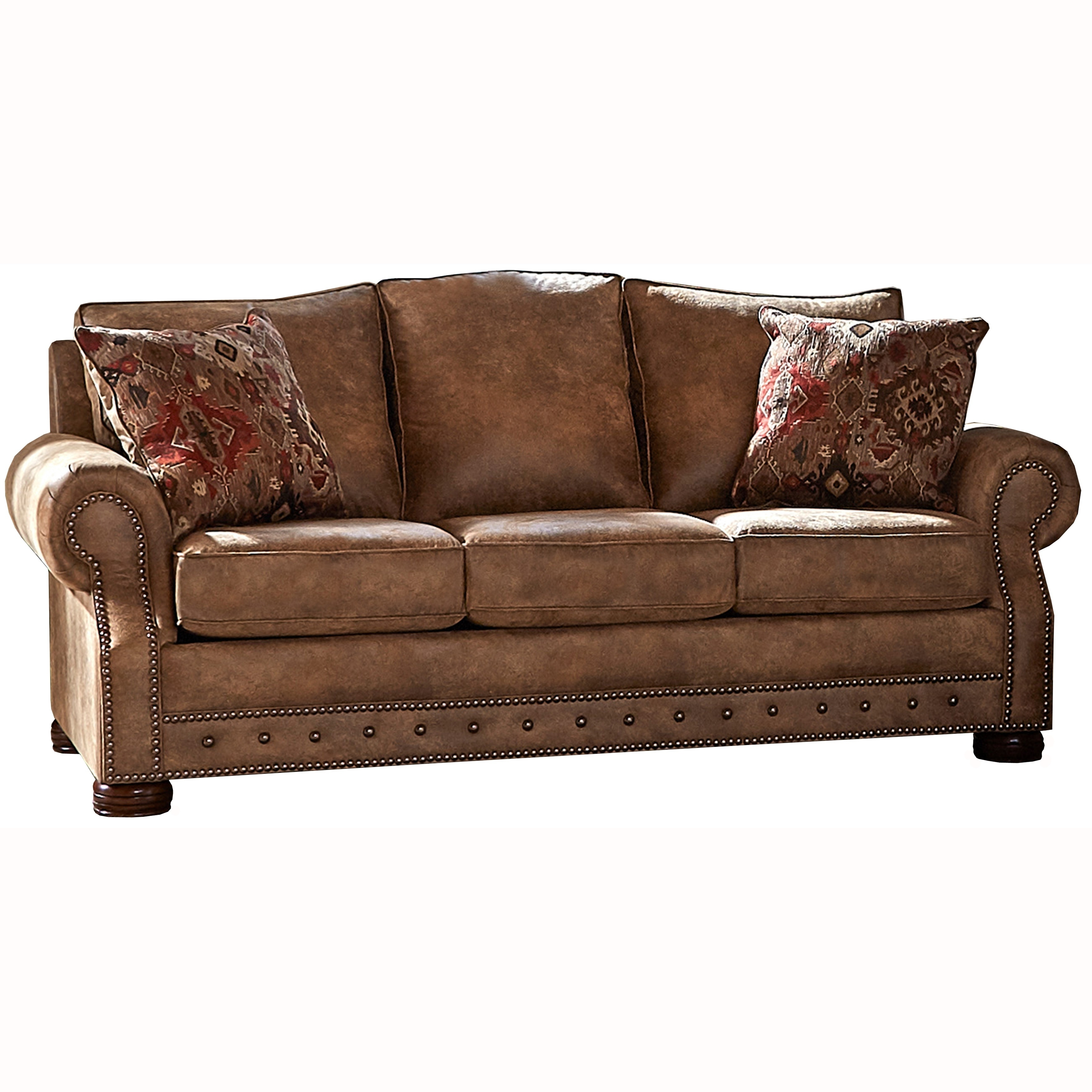 Made in USA Rancho Rustic Brown Buckskin Fabric Sofa and Two Chairs