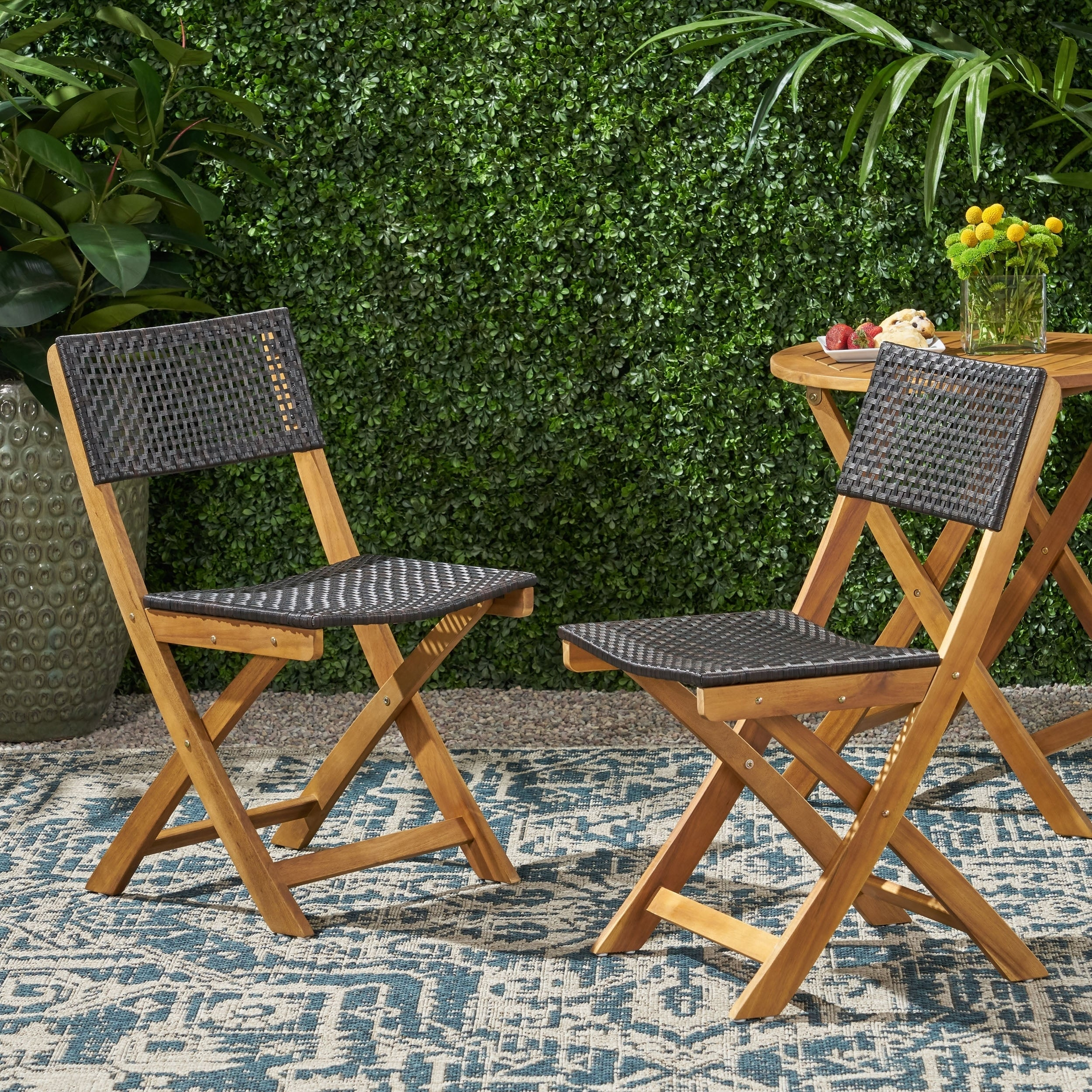Christopher Knight Home Hillside Brown Wood And Wicker Foldable Outdoor  Bistro Chairs (Set Of 2)