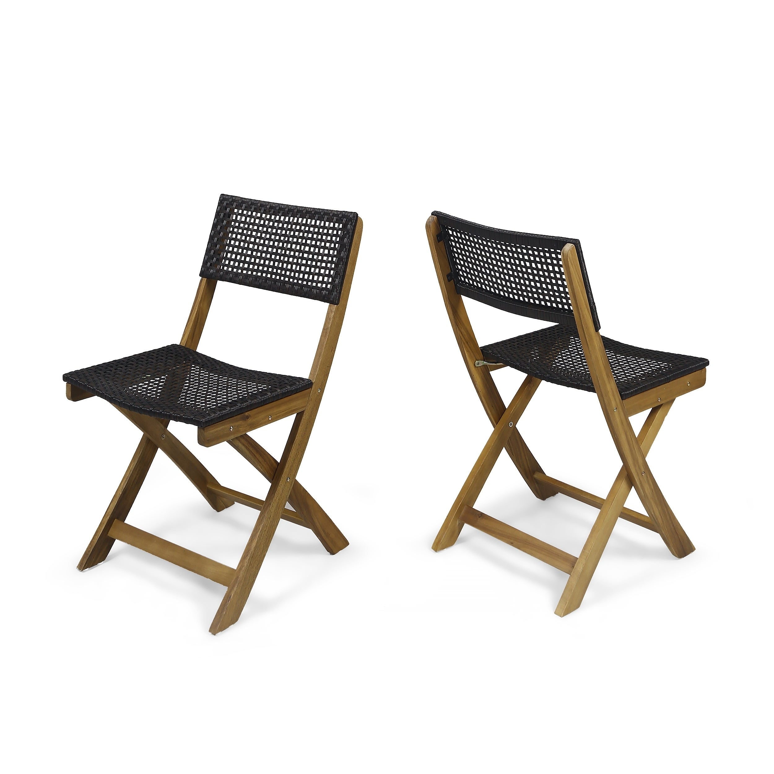 Christopher Knight Home Hillside Brown Wood And Wicker Foldable Outdoor Bistro Chairs Set Of 2
