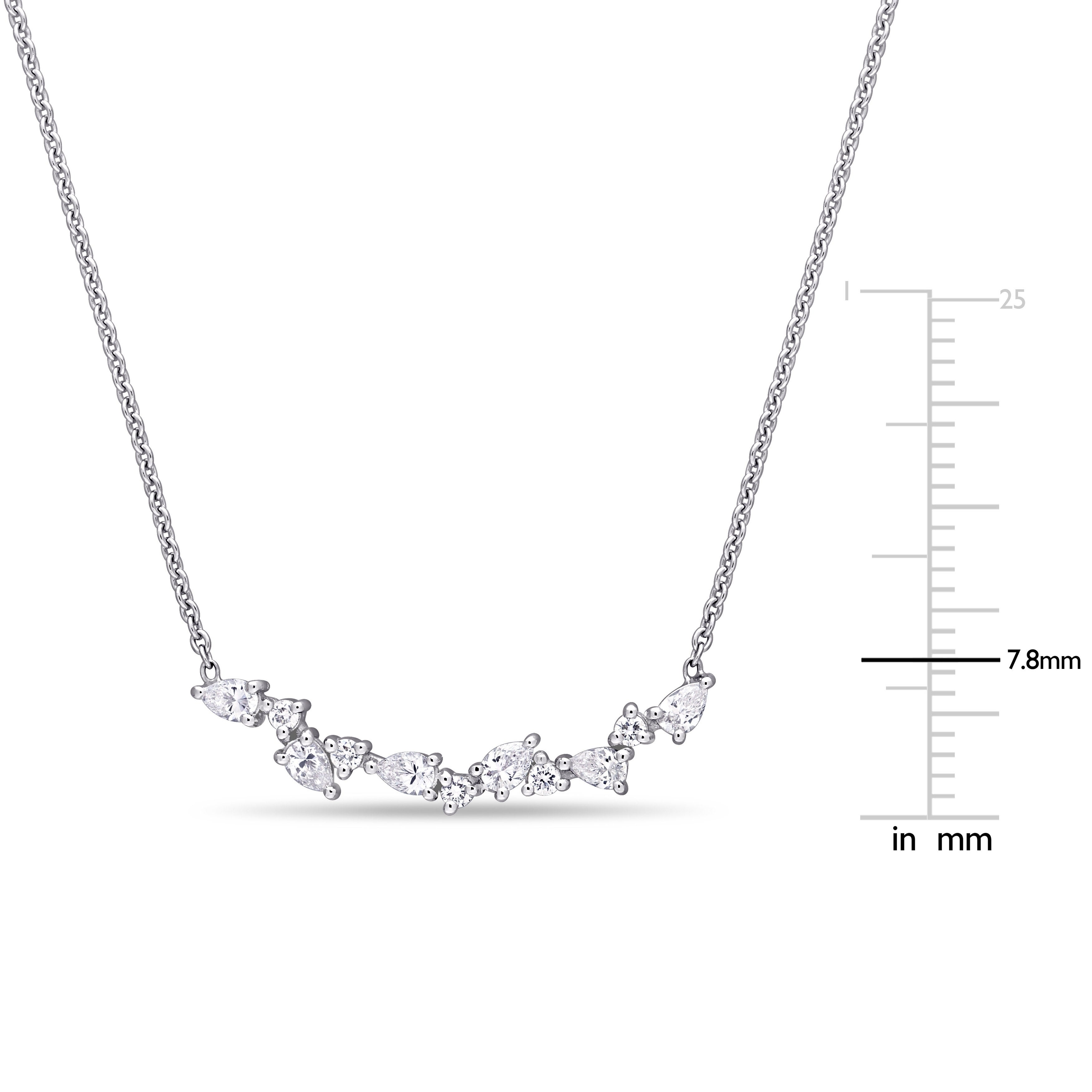 fdfafe4616b72 Miadora 14k White Gold 3/8ct TDW Pear and Round-cut Diamond Cluster Bar  Necklace