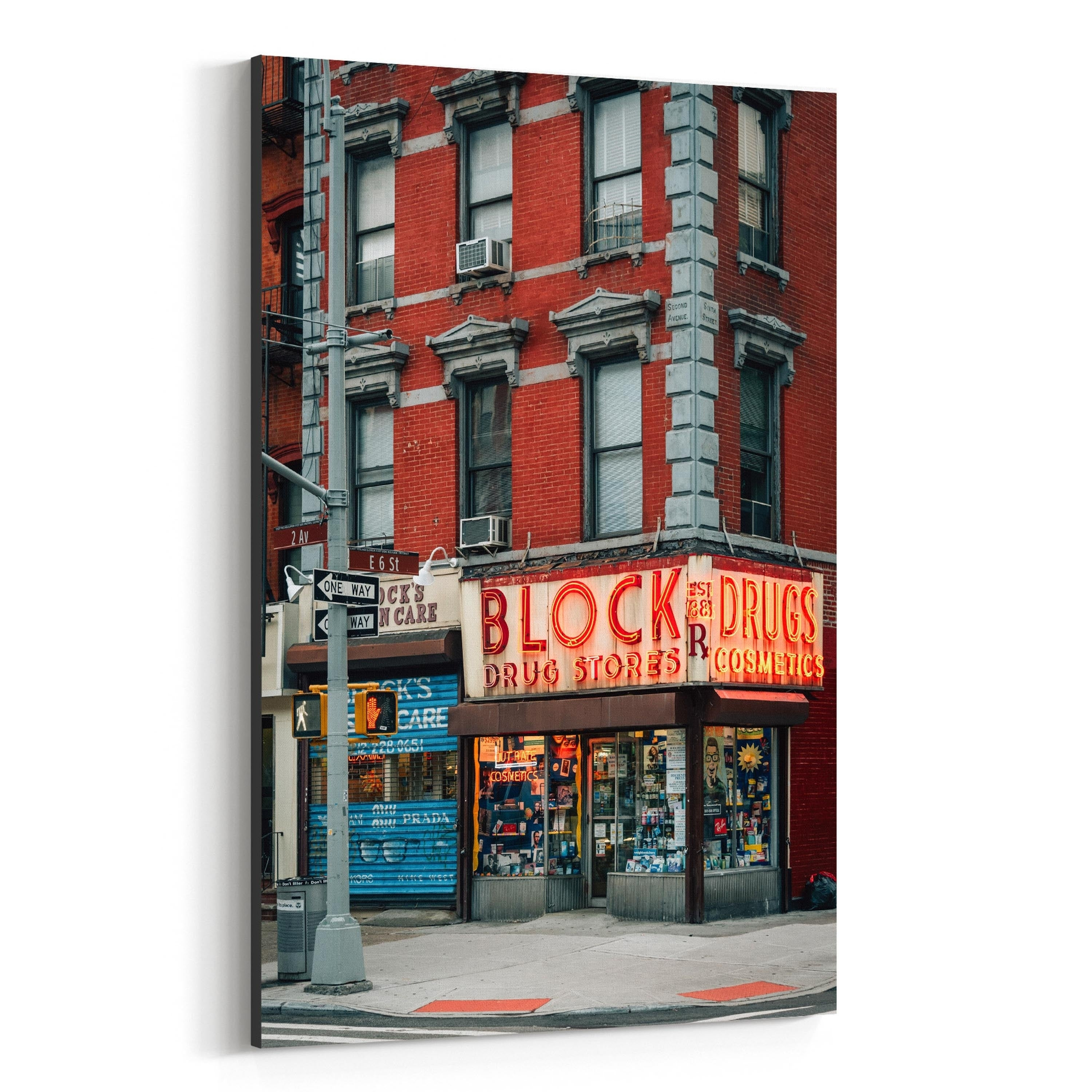 Shop noir gallery block drug stores sign new york canvas wall art print free shipping today overstock 27448782