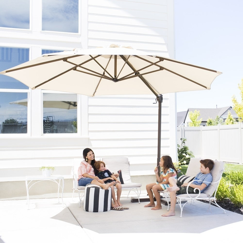 11ft Offset Cantilever Umbrella Patio Hanging With Cross Base Beige