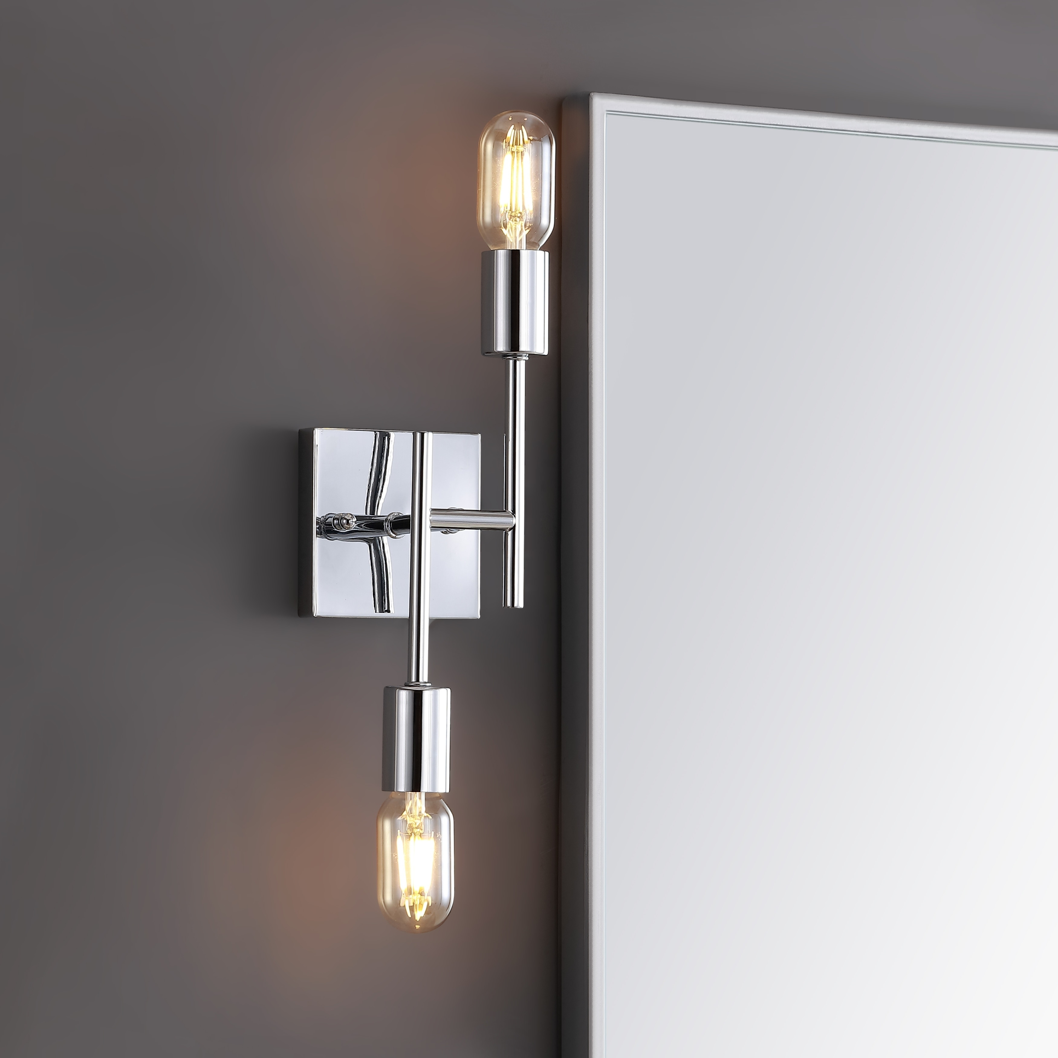 Turing 18 7 2 light metal led wall sconce chrome by jonathan y