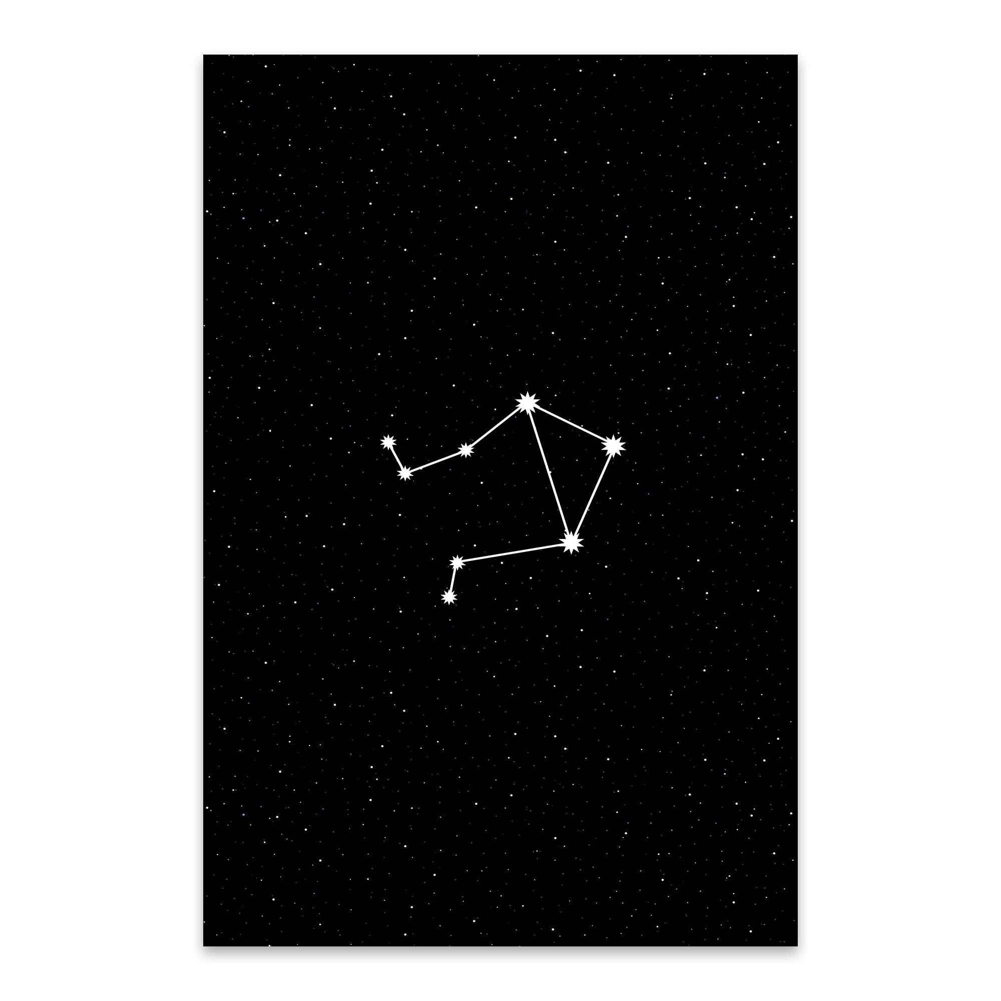 Noir gallery night sky libra astrology zodiac metal wall art print