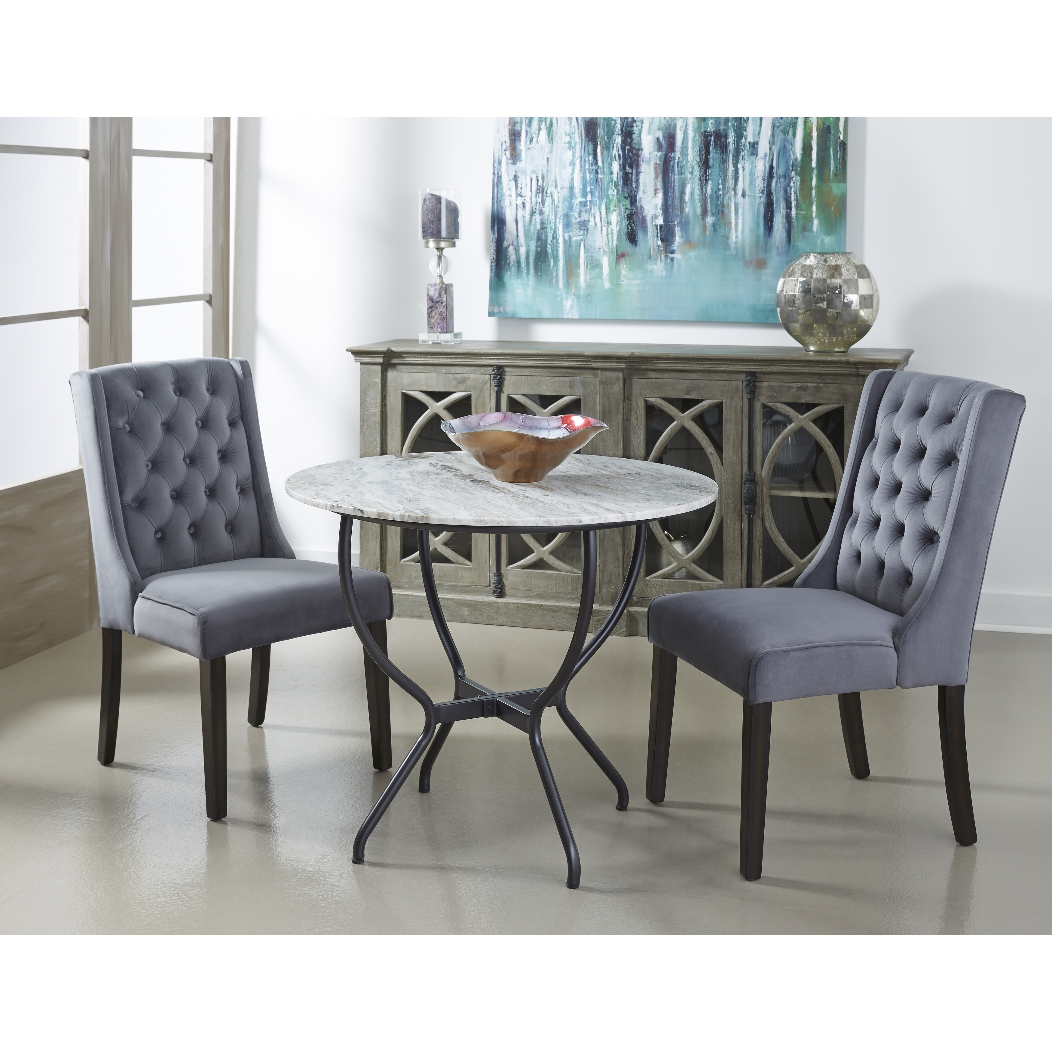 Shop Somette Madeline White Marble Top Black Metal Base Round Dining