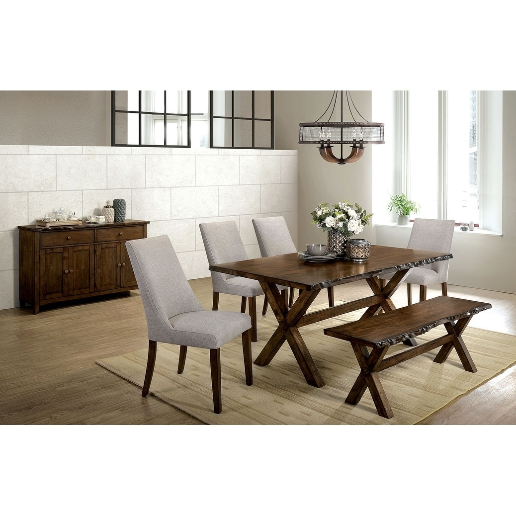 Astonishing Transitional Style Solid Wood Bench With Trestle Base And Cross Legs Brown Uwap Interior Chair Design Uwaporg