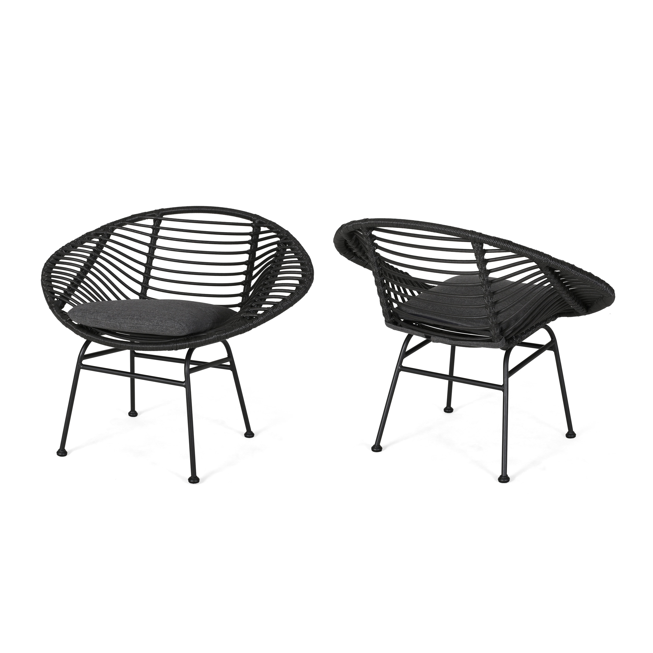 San Antonio Outdoor Woven Faux Rattan Chairs With Cushions Set Of 2 By Christopher Knight Home