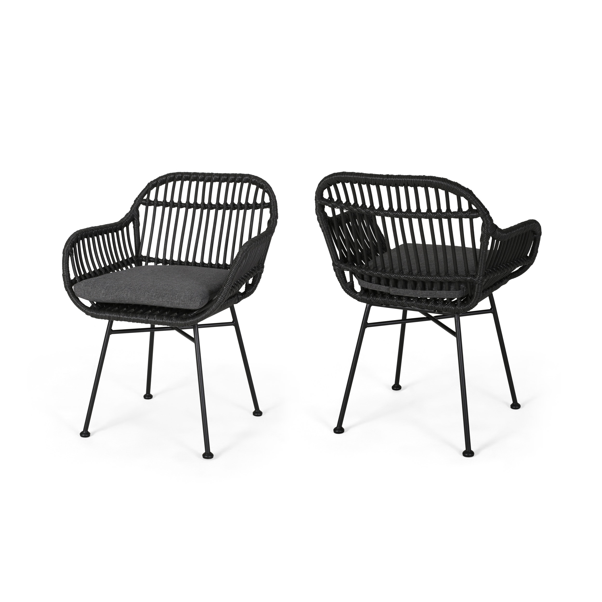 Orlando Outdoor Woven Faux Rattan Chairs With Cushions Set Of 2 By Christopher Knight Home On Free Shipping Today 27569218